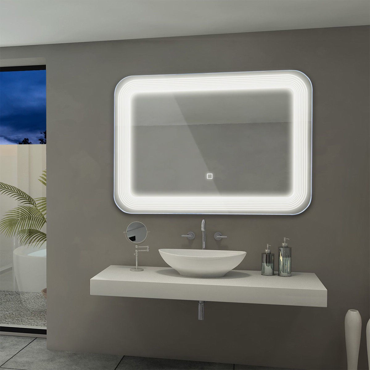 Fashionable Costway Led Wall Mount Mirror Bathroom Vanity Makeup Illuminated Mirror  W/touch Button Pertaining To Wall Mirror For Bathroom (Gallery 20 of 20)