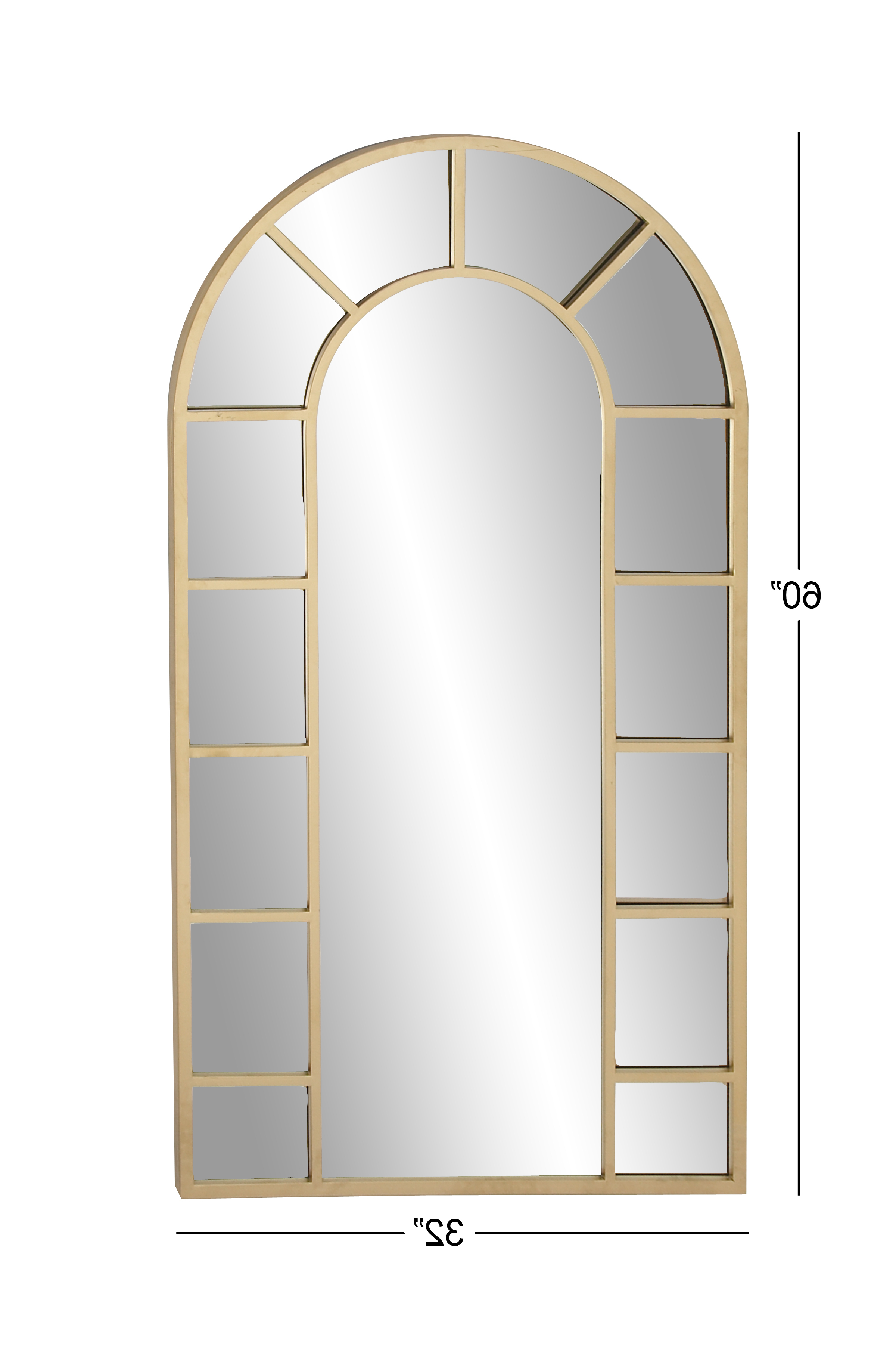 Fashionable Decmode Contemporary Wood And Metal Arched Gold Wall Mirror, Gold Throughout Arch Vertical Wall Mirrors (View 5 of 20)