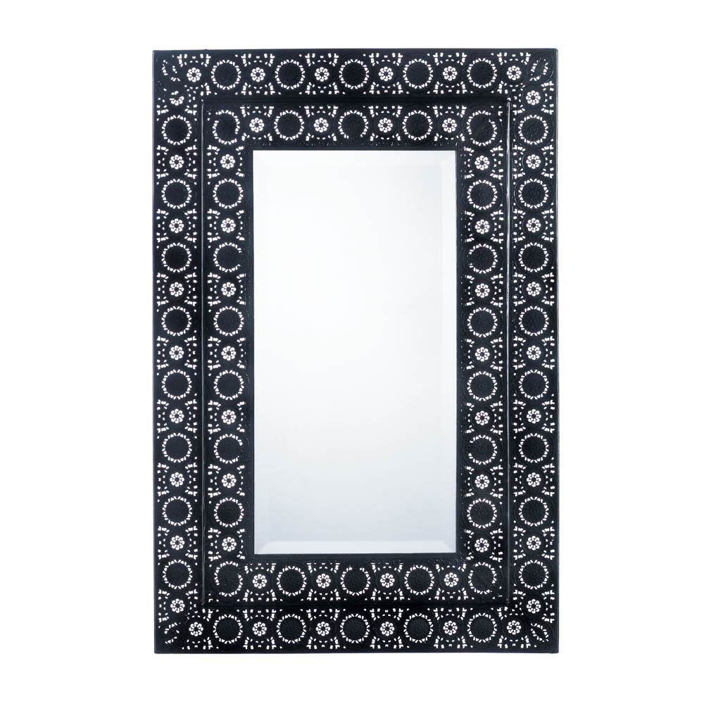 Fashionable Decorative Bathroom Wall Mirrors Intended For Details About Decorative Wall Mirrors, Moroccan Style Frame Black Wall  Mirror For Bathroom (View 13 of 20)