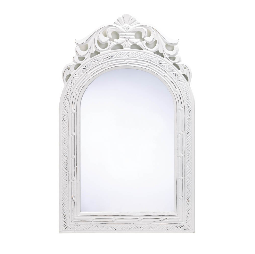 Fashionable Decorative Wall Mirrors For Bathrooms Within Mirrors For Wall Decor, Arched Top Wood Framed Decorative Wall Mirror – White (View 18 of 20)