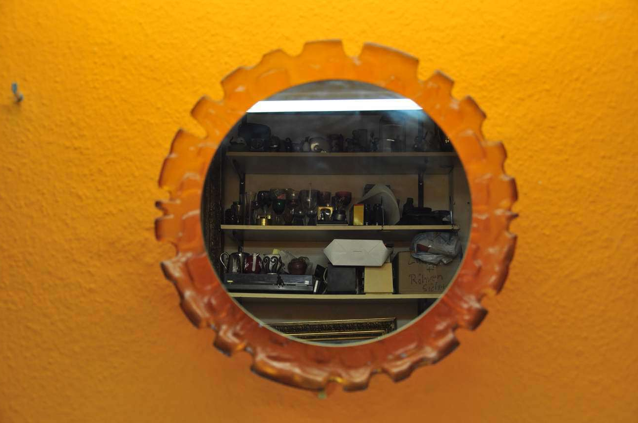 Fashionable Design Wall Mirror With Light Transparent Orange 70S Throughout Orange Wall Mirrors (View 19 of 20)