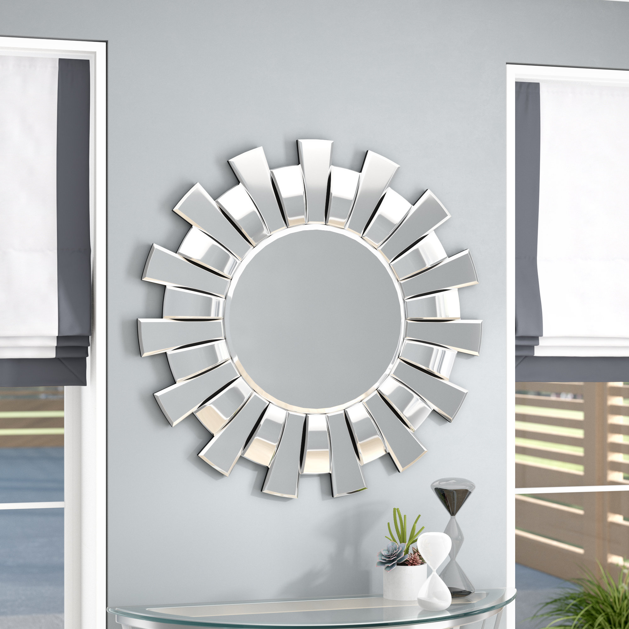 Fashionable Details About Orren Ellis Sun Burst Circular Glam Beveled Wall Mirror Throughout Glam Beveled Accent Mirrors (View 20 of 20)