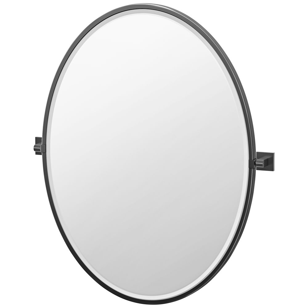 "Fashionable Elevate Matte Black 28 1/4"" X 33"" Framed Oval Wall Mirror Regarding Elevate Wall Mirrors (View 13 of 20)"