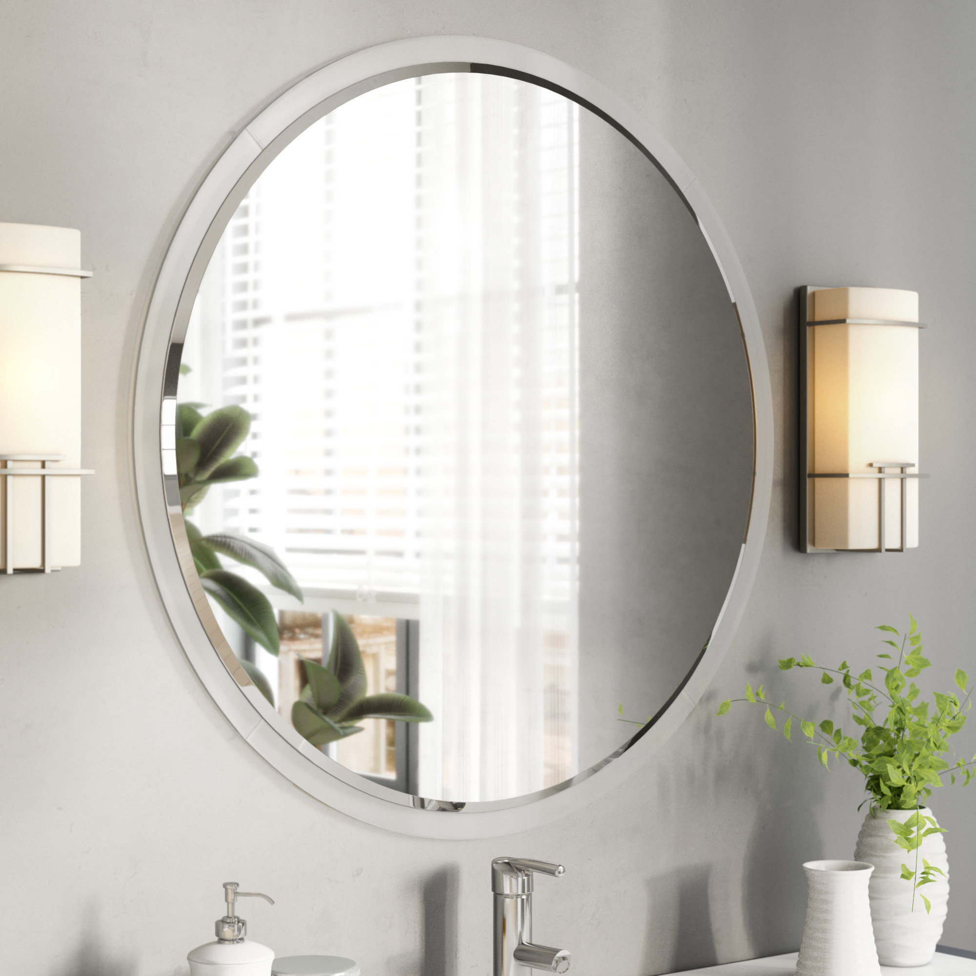 Fashionable Enciso Wall Bathroom/vanity Mirror Throughout Lidya Frameless Beveled Wall Mirrors (View 5 of 20)
