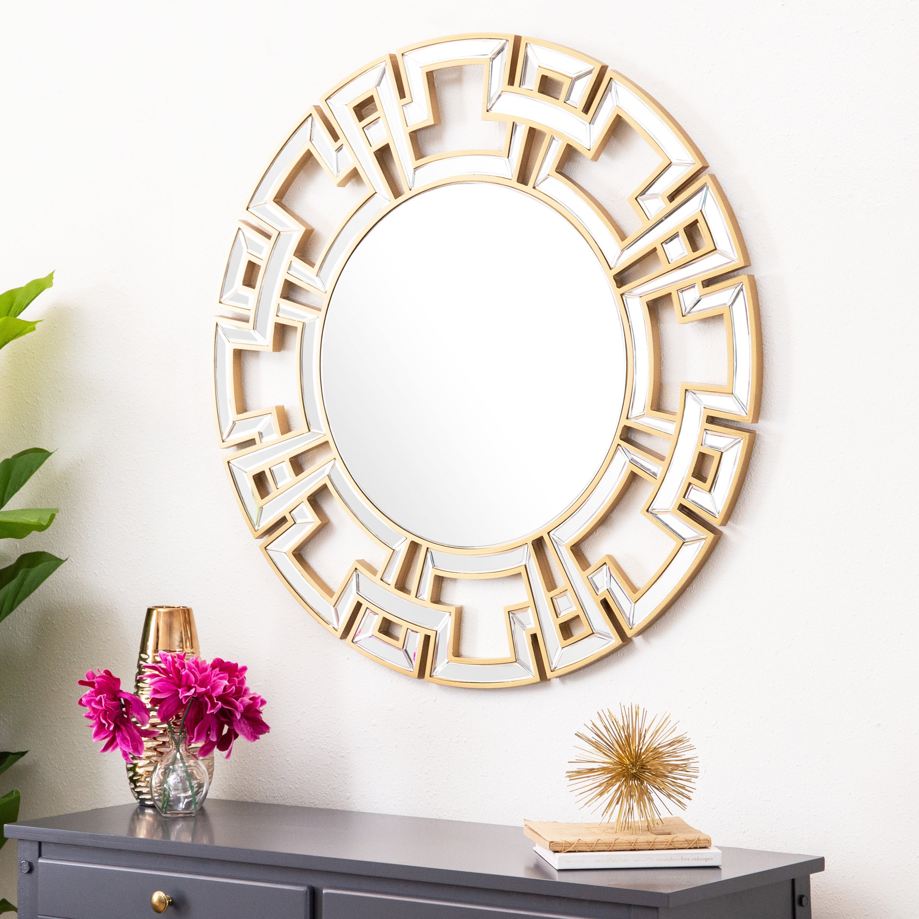 Fashionable Expensive Wall Mirrors Inside Abbyson Pierre Gold Round Wall Mirror (View 4 of 20)