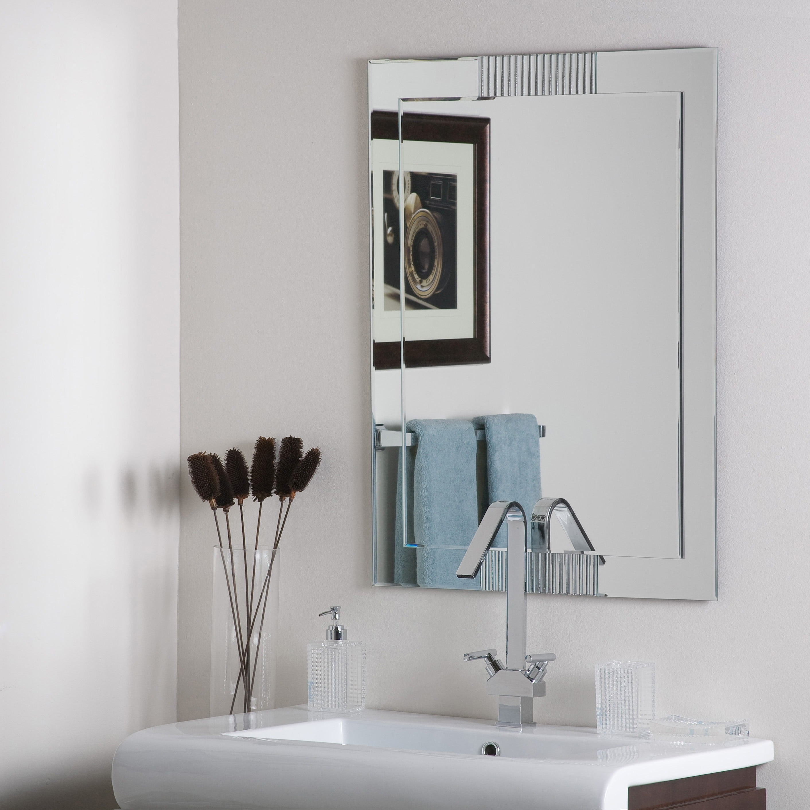 Fashionable Francisca Large Frameless Wall Mirror – Silver – A/n Throughout Large Frameless Wall Mirrors (View 5 of 20)