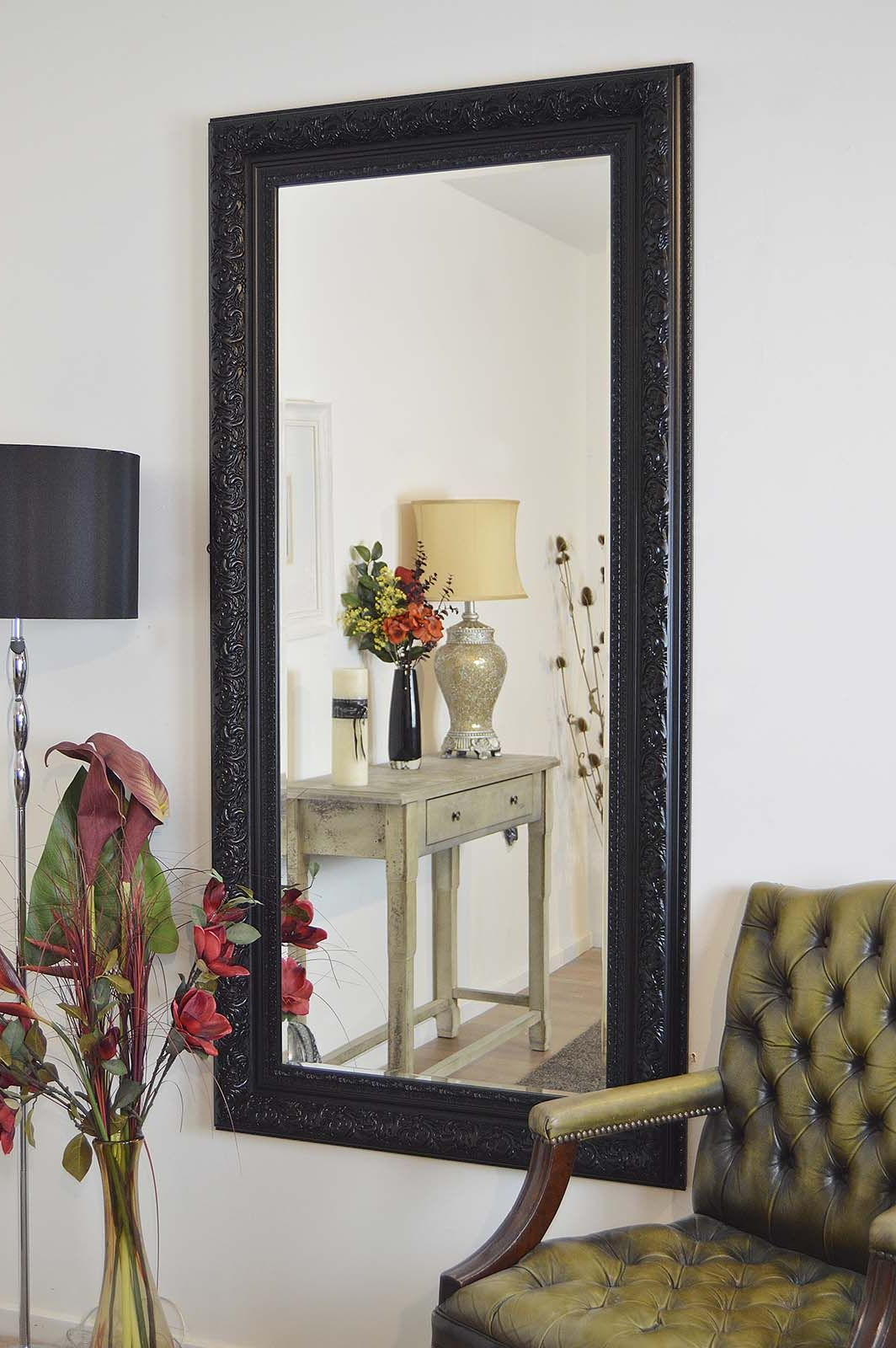 Fashionable Full Length Decorative Wall Mirrors Within Devonshire Decorative Black Full Length Mirror 177x86cm In  (View 7 of 20)