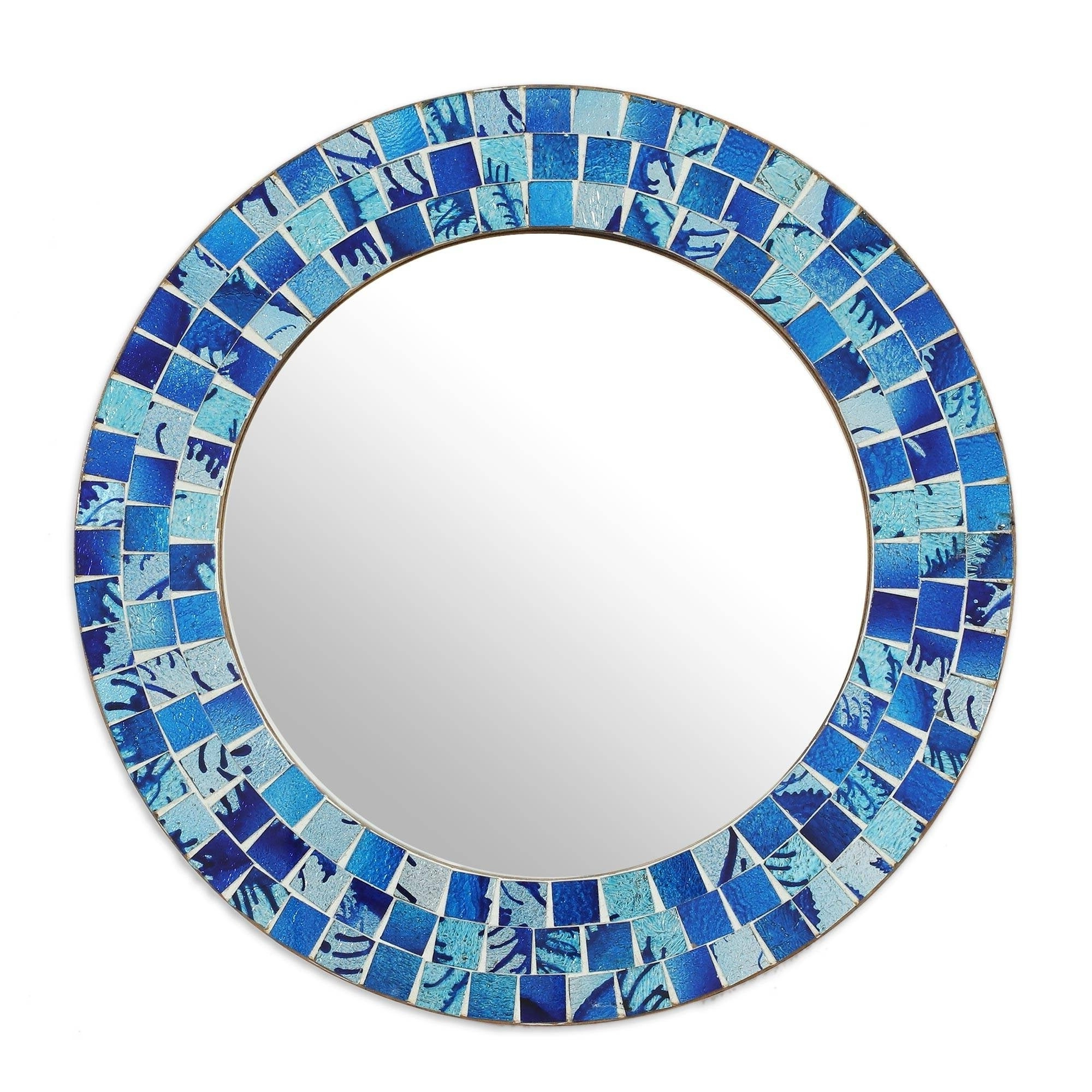 Fashionable Glass Mosaic Wall Mirrors With Regard To Handmade Tropical Ocean Glass Mosaic Round Wall Mirror (India) – Blue (View 8 of 20)