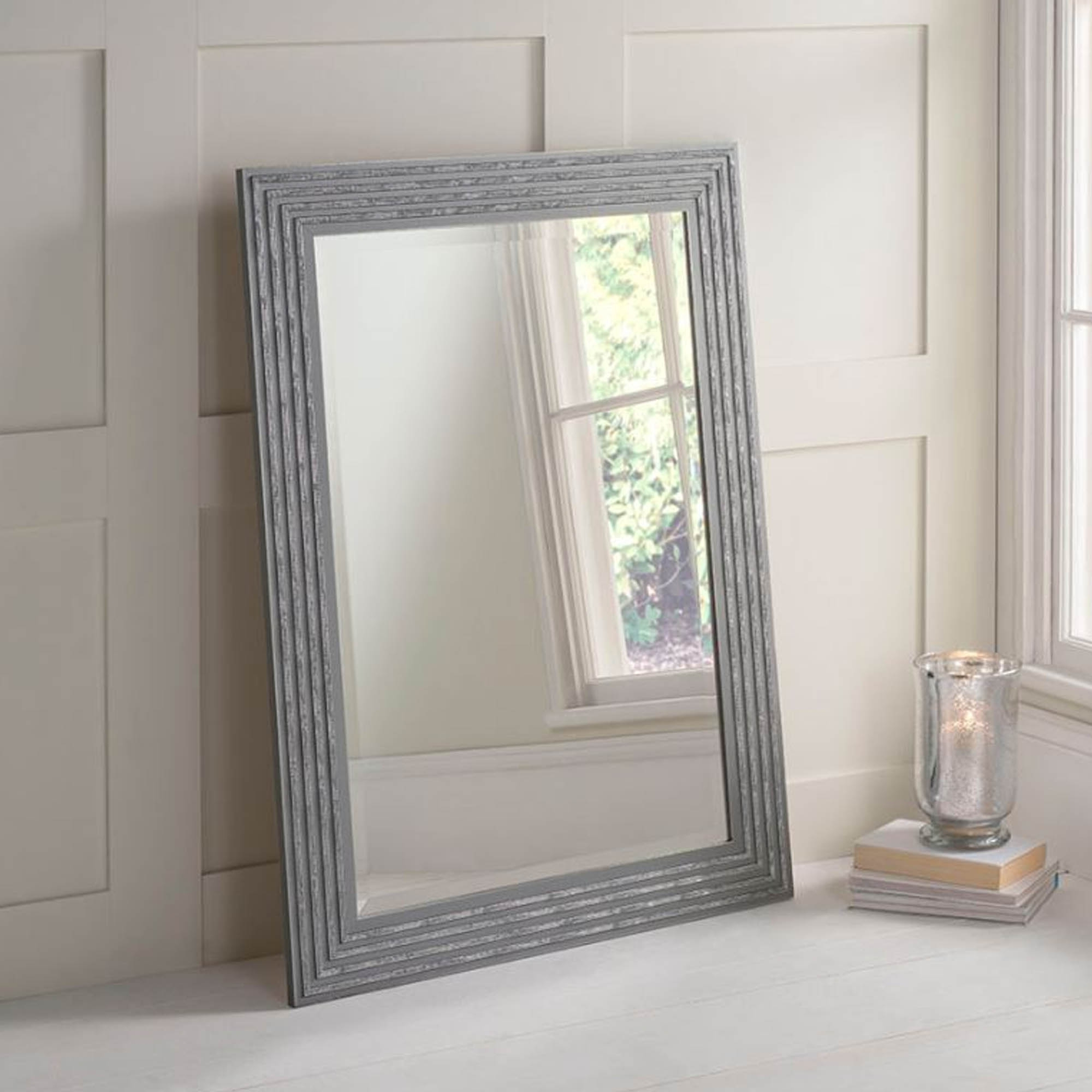 Fashionable Gray Wall Mirrors With Grey And Silver Decorative Wall Mirror (View 2 of 20)