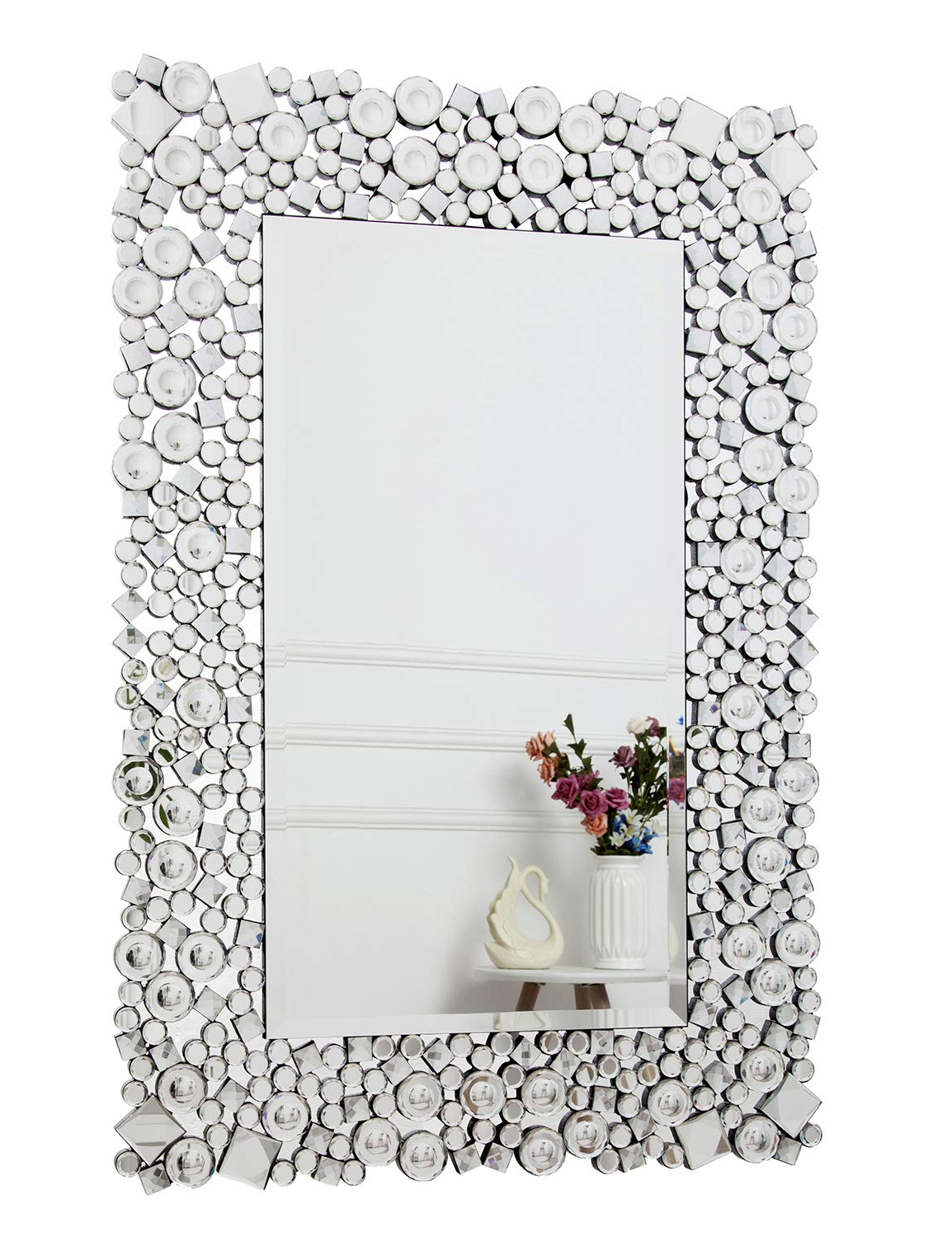 Fashionable Hallway Wall Mirrors For Richtop Wall Mirror Large Crystal Jewel Mosaic Framed Rectangle Wall Mounted Mirrors Bevelled Silver Glass Hung For Living Room, Bedroom, Hall, (View 19 of 20)