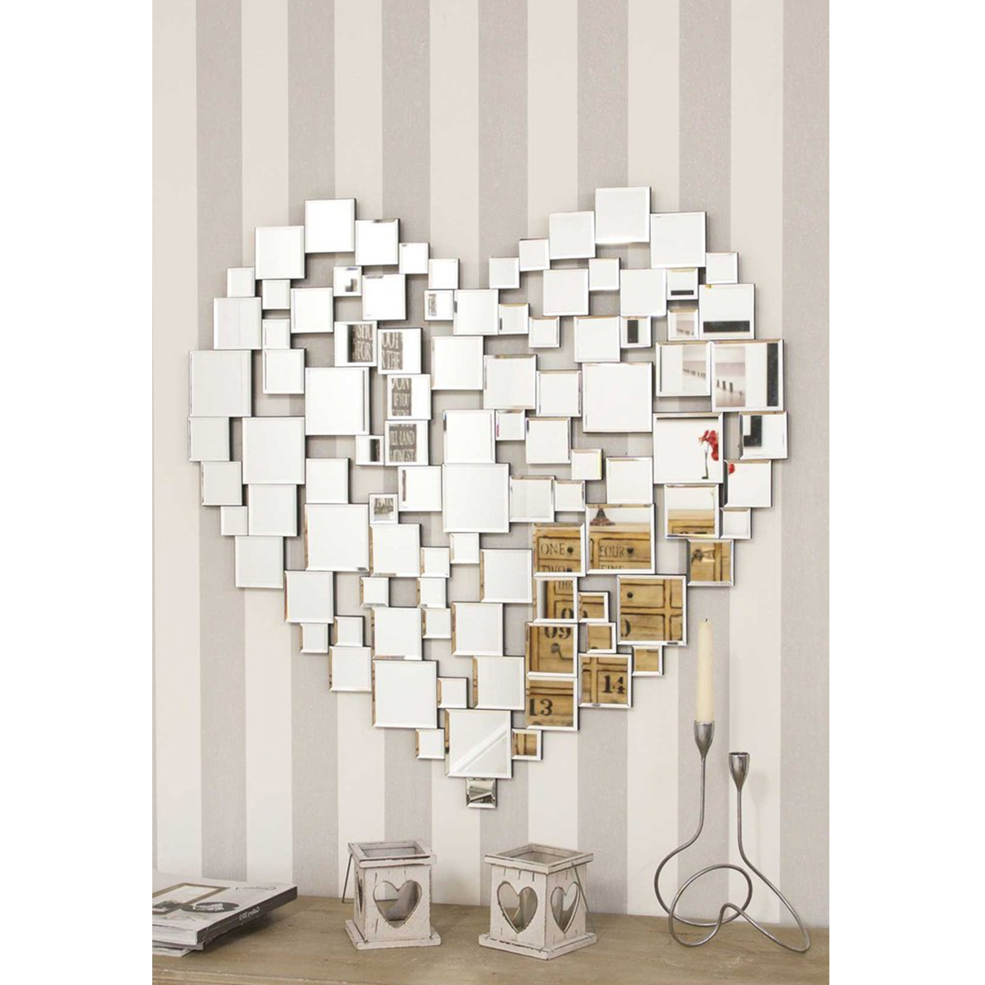Fashionable Heart Shape Venetian Wall Mirror With Glass Wall Mirrors (View 6 of 20)