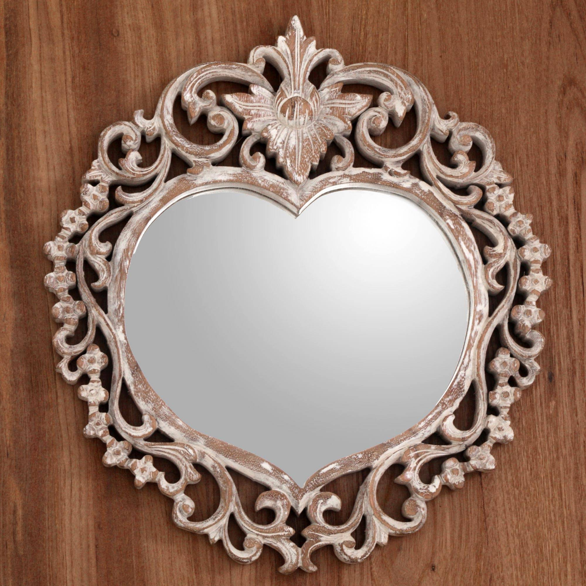 Fashionable Heart Shaped Wall Mirrors Pertaining To Hand Carved Wood Heart Shaped Wall Mirror From Indonesia, 'wild Heart' (View 7 of 20)