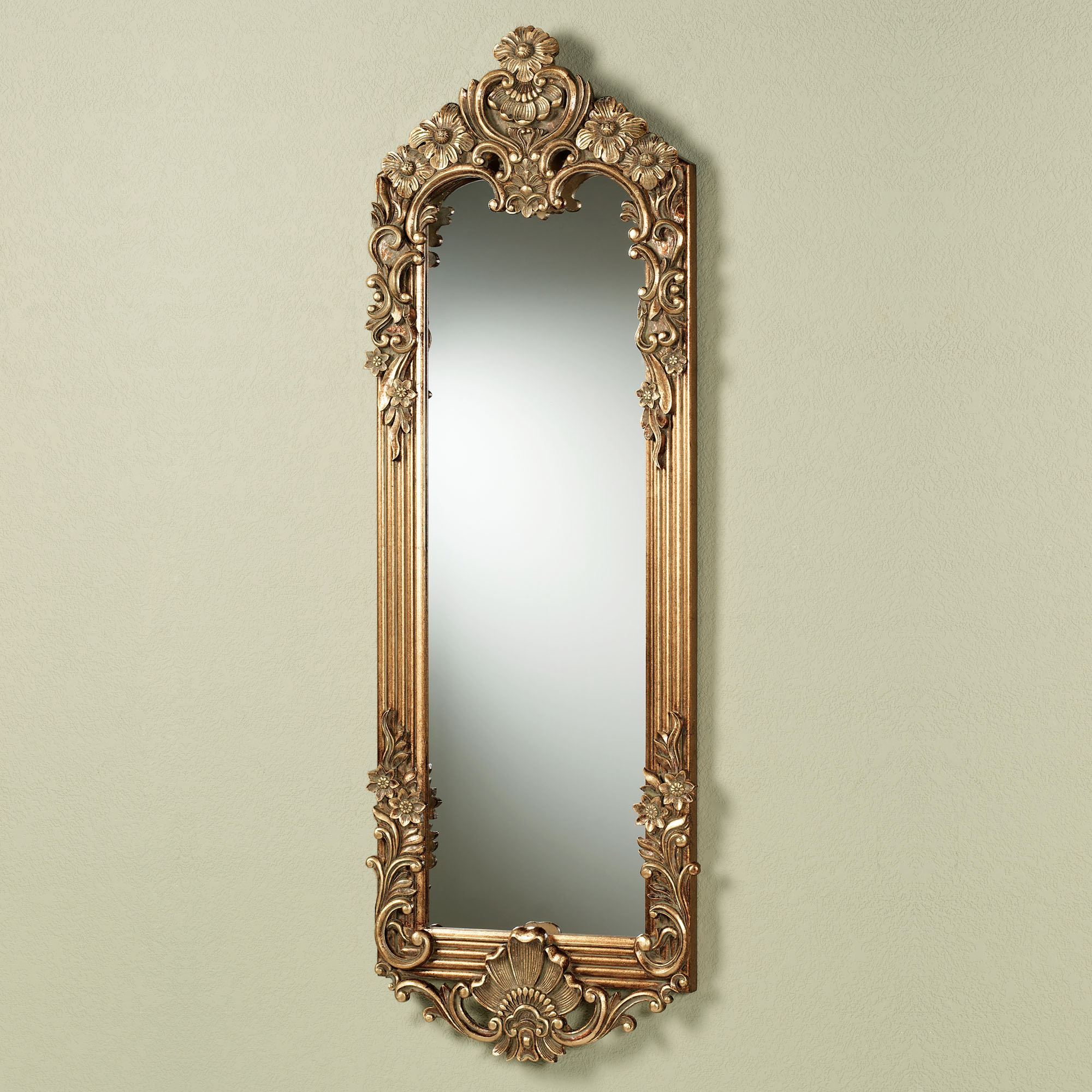 Fashionable Large Fancy Wall Mirrors For Gadsden Dark Gold Large Floral Wall Mirror Panel (View 16 of 20)