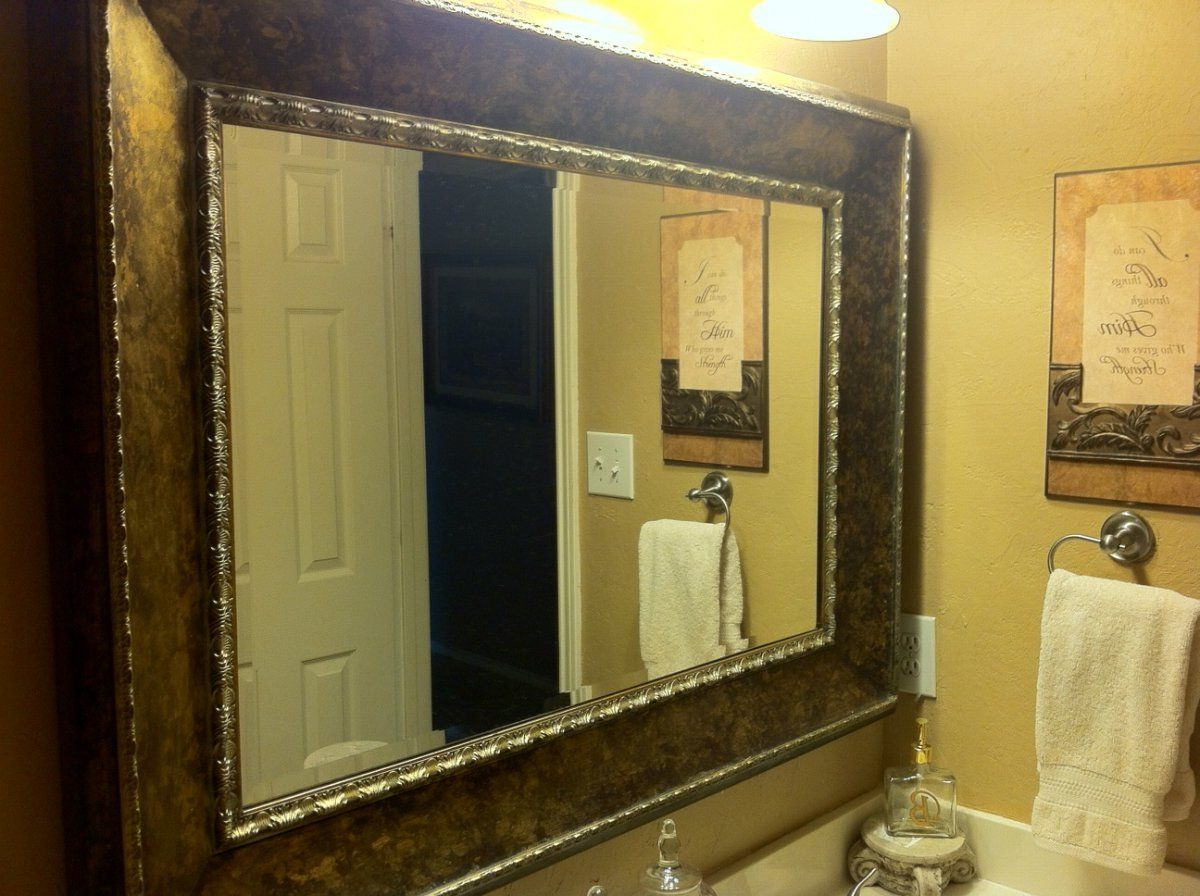 Fashionable Large Framed Wall Mirrors In Vintage Design Bathroom With Decorative Framed Bathroom Mirrors, And (View 5 of 20)