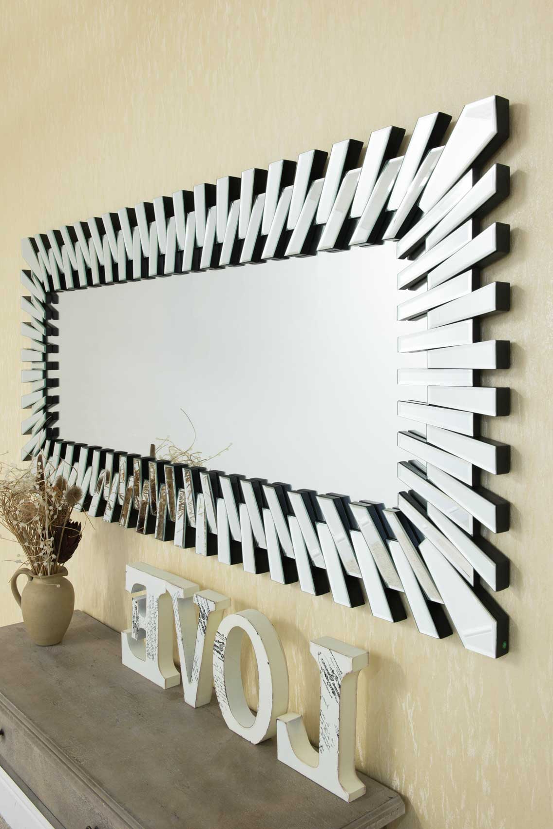 Fashionable Large Modern Wall Mirrors Regarding Details About Extra Large Modern Unique 3D Sunburst All Glass Venetian Rectangular Wall Mirror (View 12 of 20)