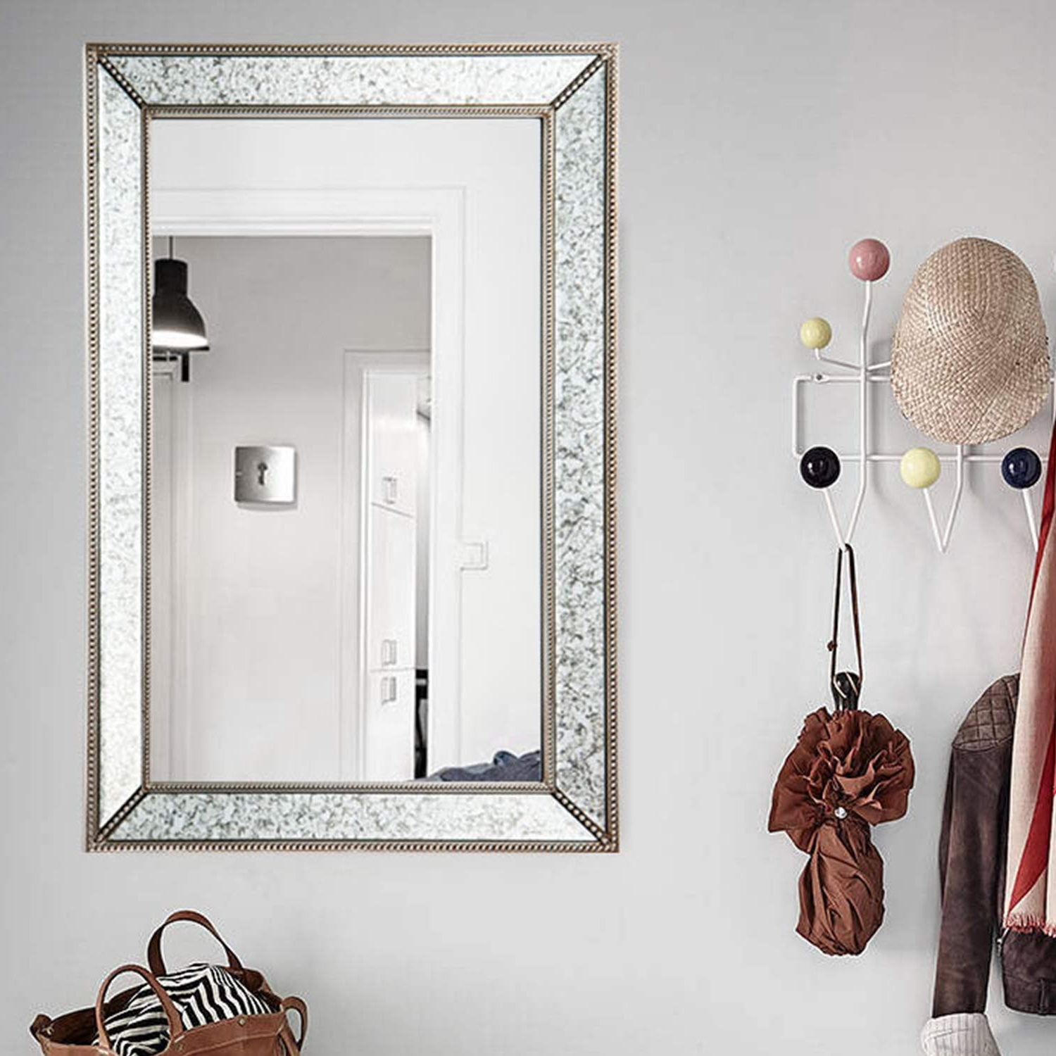 Fashionable Large Rectangle Antique Decorative Accent Wall Mounted Mirror In  Rectangular Shapes Angled Beveled Mirror Frame And Beaded Accents Living  Room Bedroom Inside Beaded Accent Wall Mirrors (View 9 of 20)
