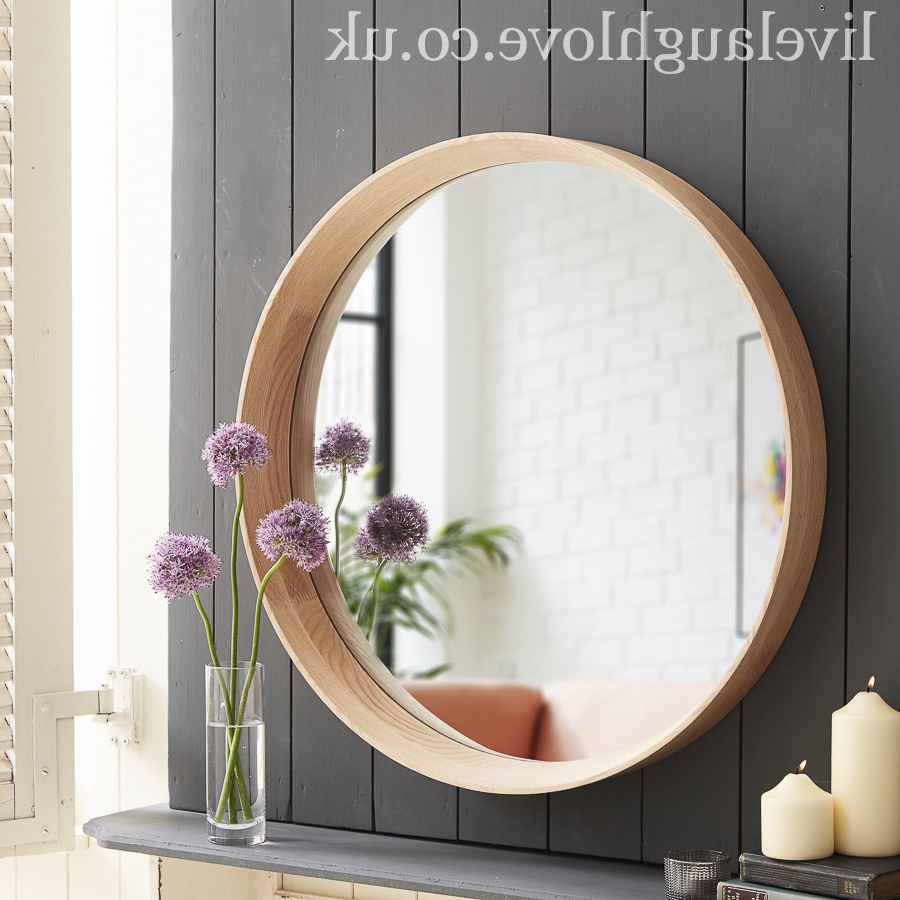 Fashionable Large Round Wall Mirrors Throughout Large Round Deep Framed Oak Wall Mirror (View 5 of 20)