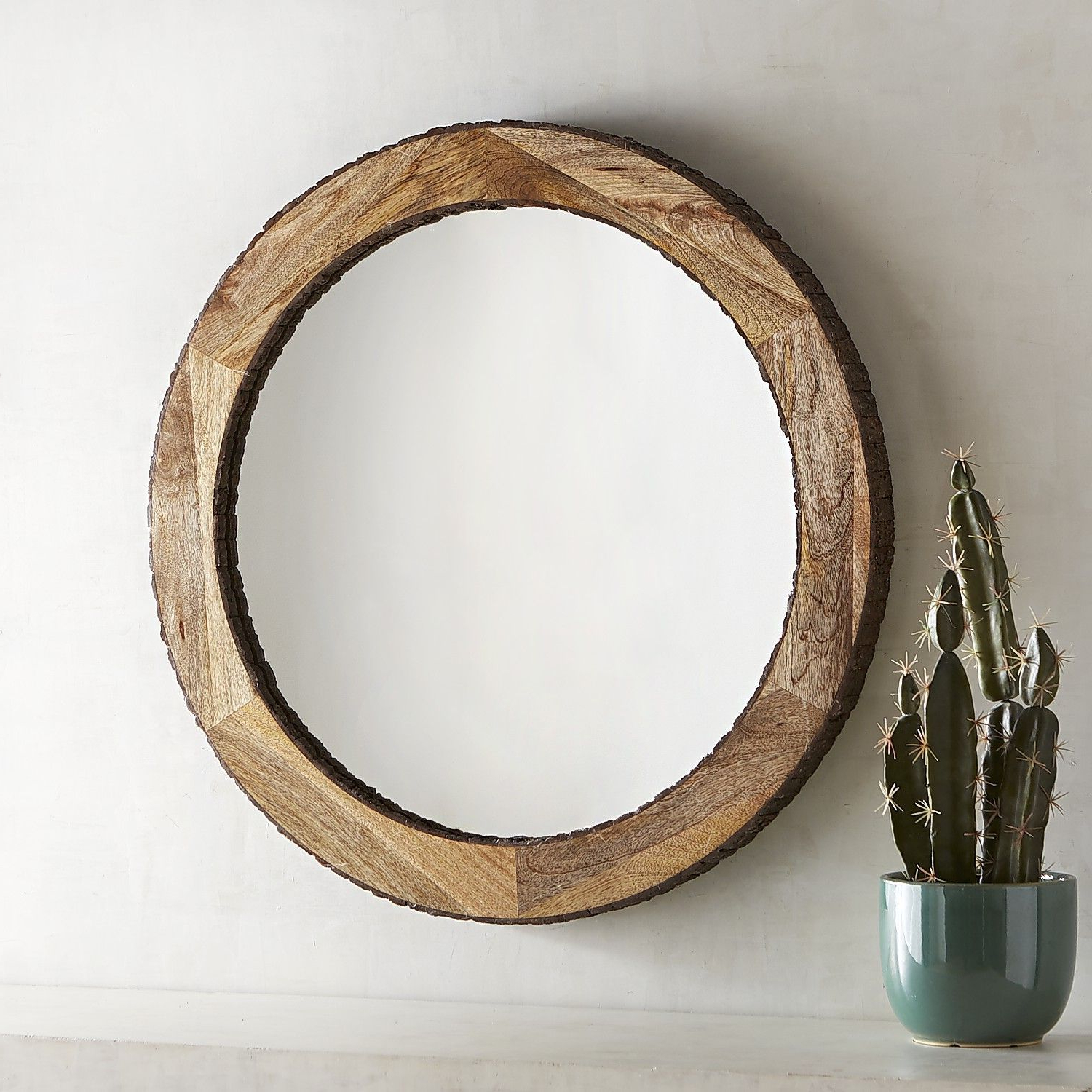 Fashionable Large Wall Mirrors With Wood Frame With Engaging Wood Frame Ledge Round Wall Mirror Smoke Modern (View 17 of 20)