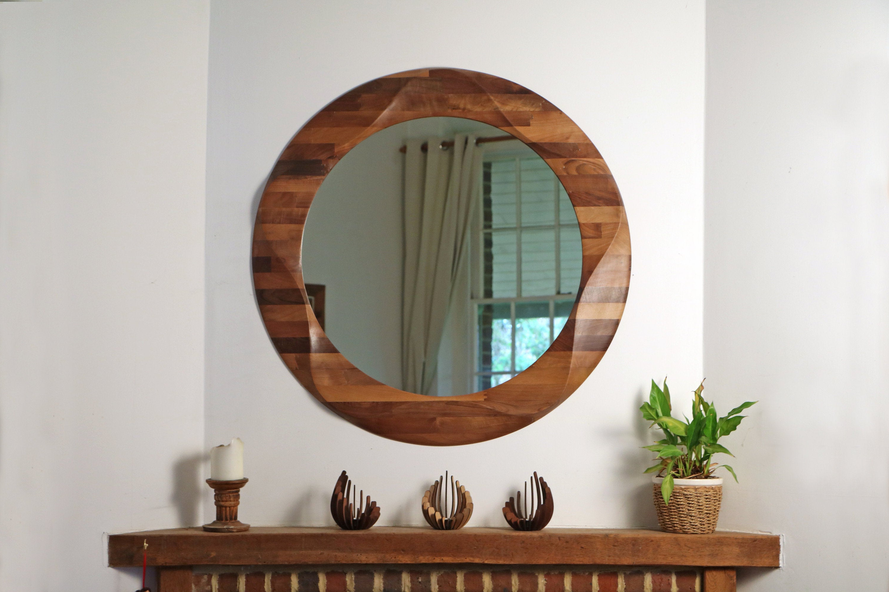 Fashionable Large Wooden Wall Mirrors For Round Mirror, Large Decorative Round Wooden Wall Mirror, Wooden Mirror Wall, Circular Wall Hanging Mirror Made From Solid Walnut Wood (View 7 of 20)