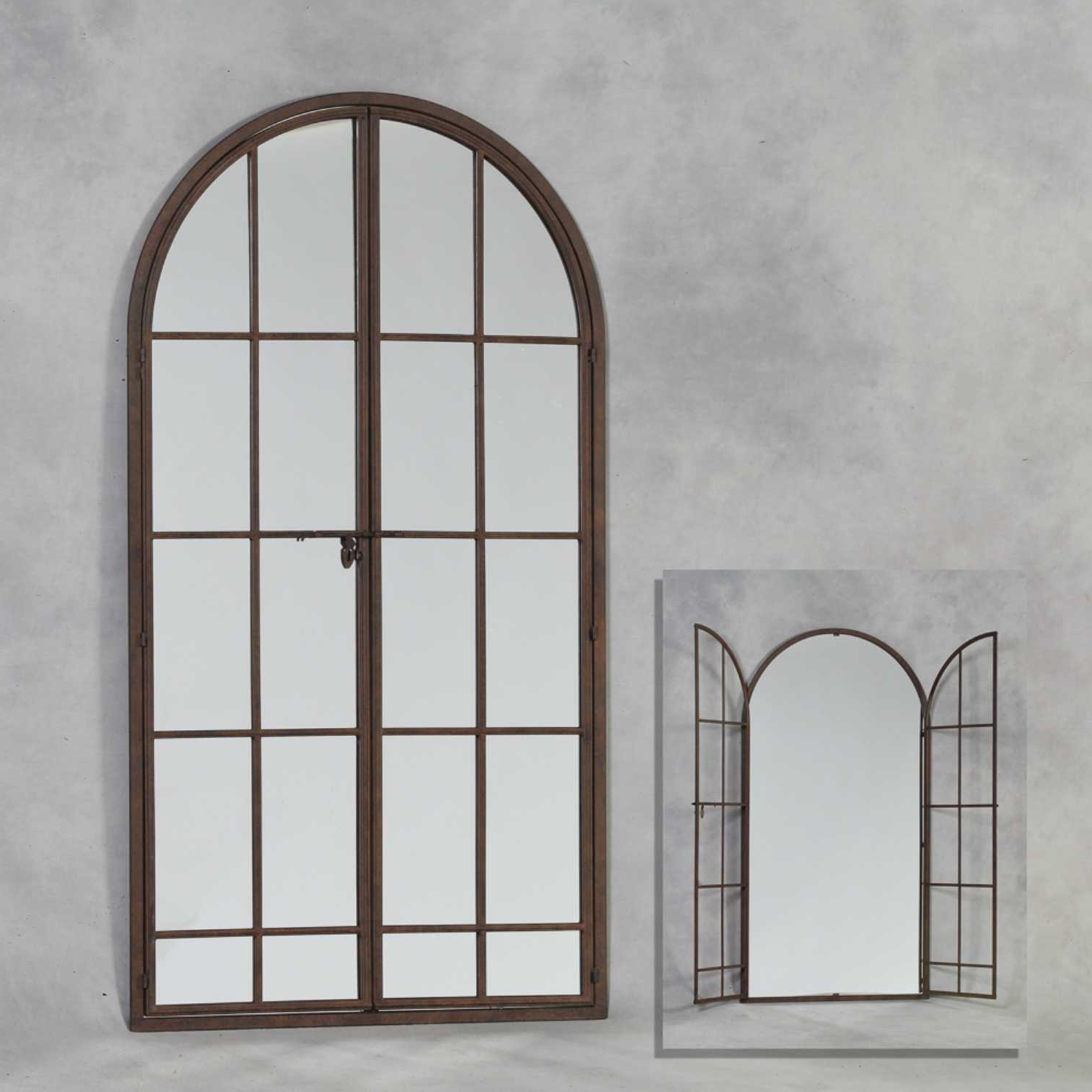 Fashionable Metal Arch Window Wall Mirrors With Regard To Large Arched Metal Opening Window Wall Mirror Antiqued Iron Frame (View 4 of 20)