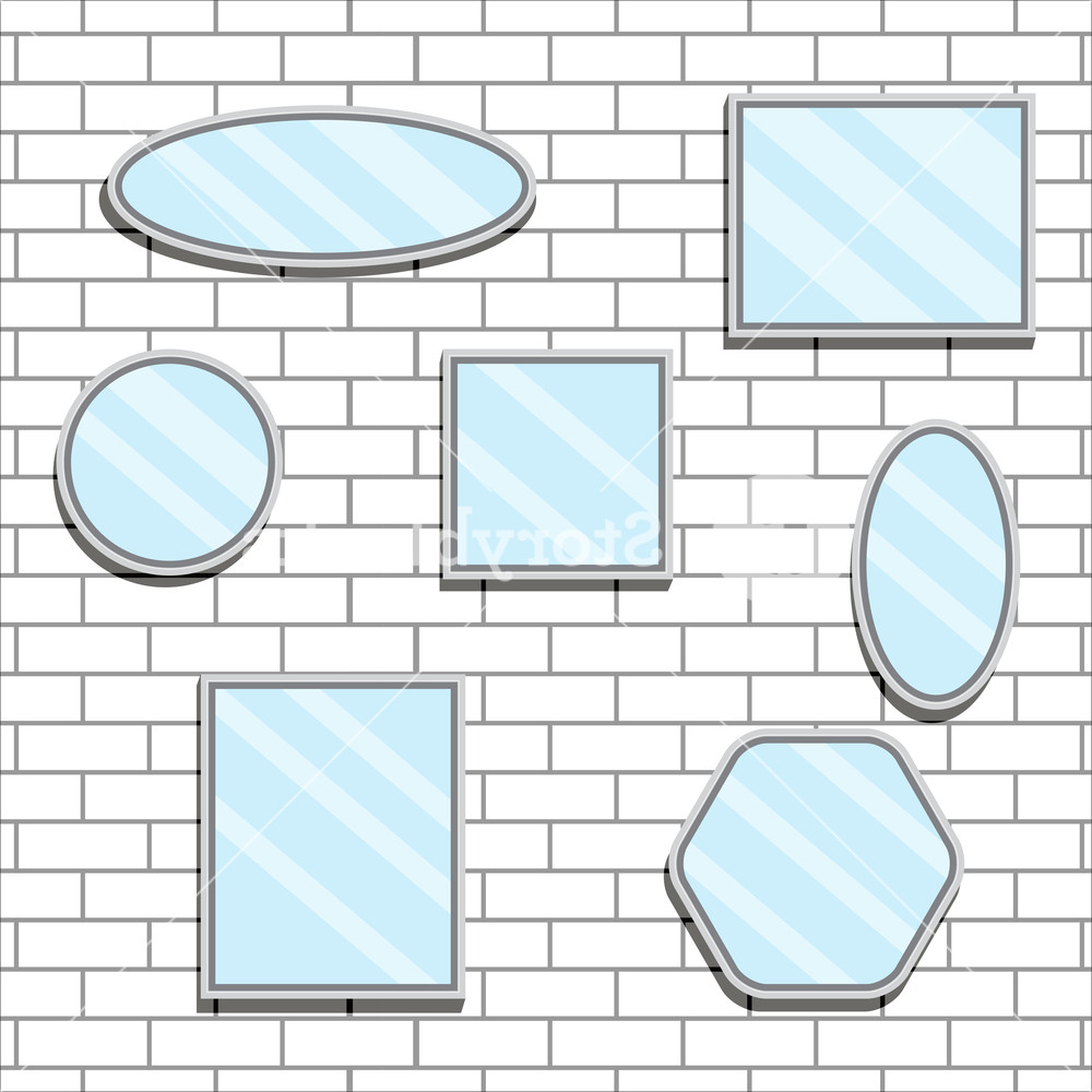 Fashionable Mirror Set Design Form On Brick Wall (View 20 of 20)