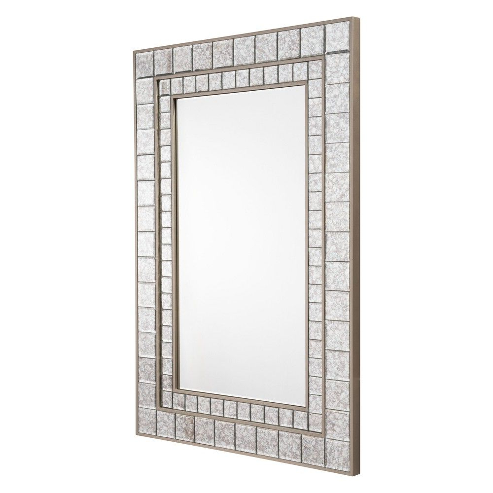 """Fashionable Modern & Contemporary Beveled Wall Mirrors Regarding Zm Home 47"""" Vintage Modern Rectangular Beveled Mirror Silver In  (View 5 of 20)"""