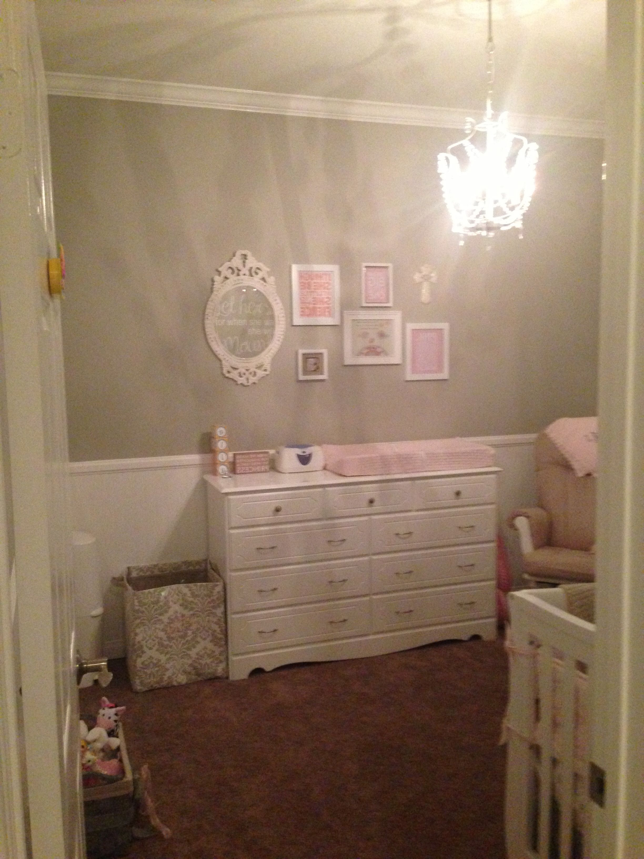 Fashionable Nursery Wall Decor – Frames & Mirror Above Changing Dresser With Baby Wall Mirrors (View 13 of 20)