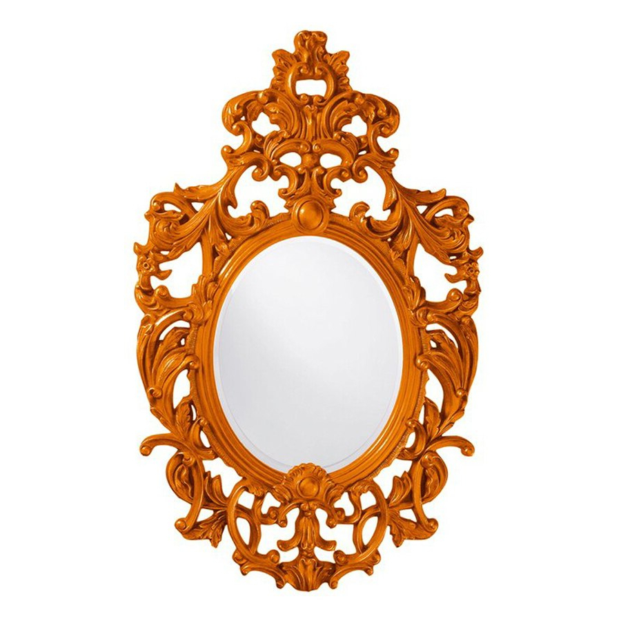 Fashionable Orange Framed Wall Mirrors Inside Tyler Dillon Dorsiere 51 In L X 31 In W Orange Framed Oval Wall (View 3 of 20)