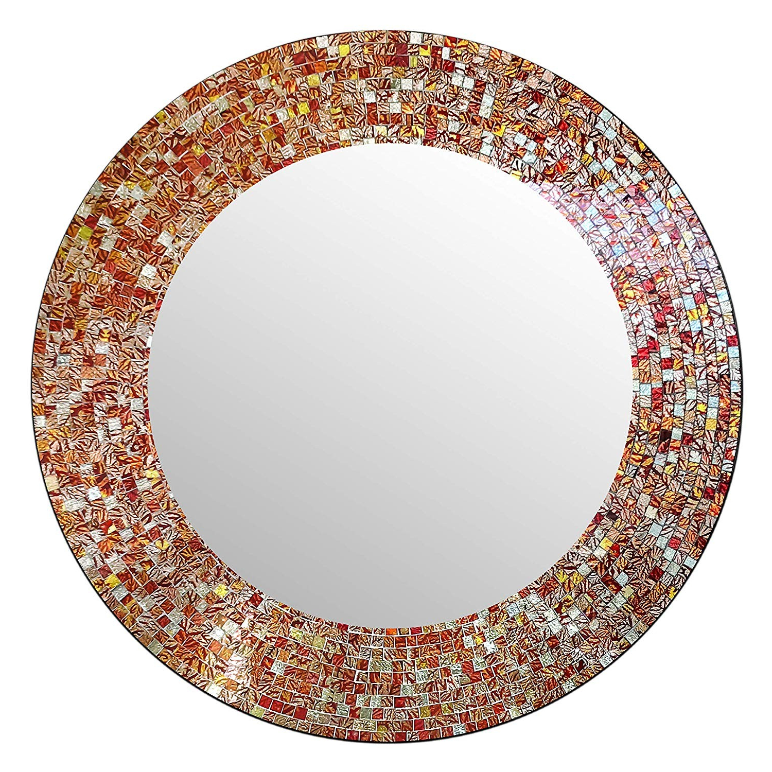 "Fashionable Orange Wall Mirrors Intended For Shop Decorshore 24"" Traditional Round Mosaic Mirror, Decorative Wall (View 18 of 20)"