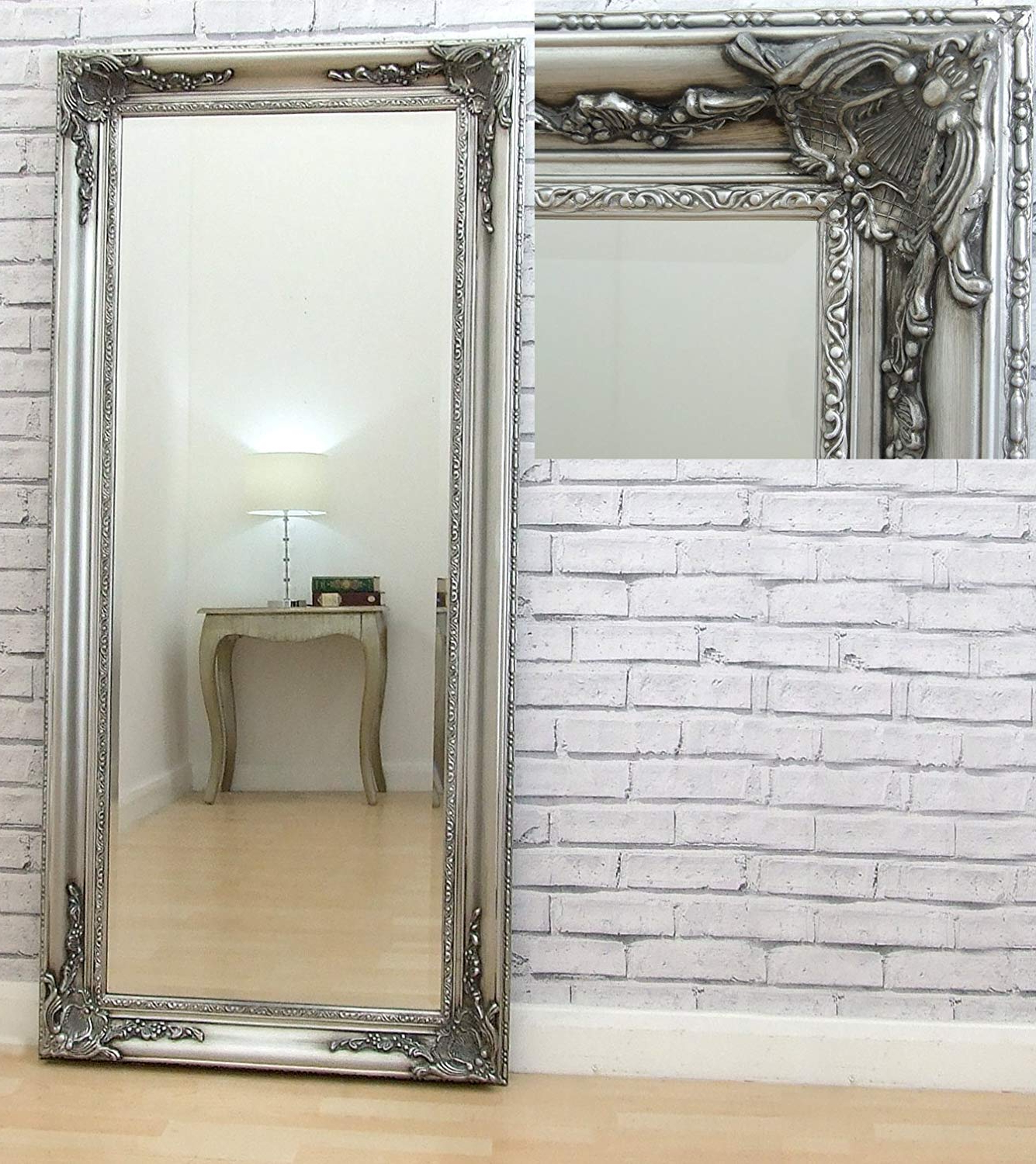 """Fashionable Ornate Full Length Wall Mirrors With Regard To Barcelona Trading Harlow Antique Silver Ornate Full Length Floor Leaner  Wall Mirror 59"""" X 28"""" (View 4 of 20)"""