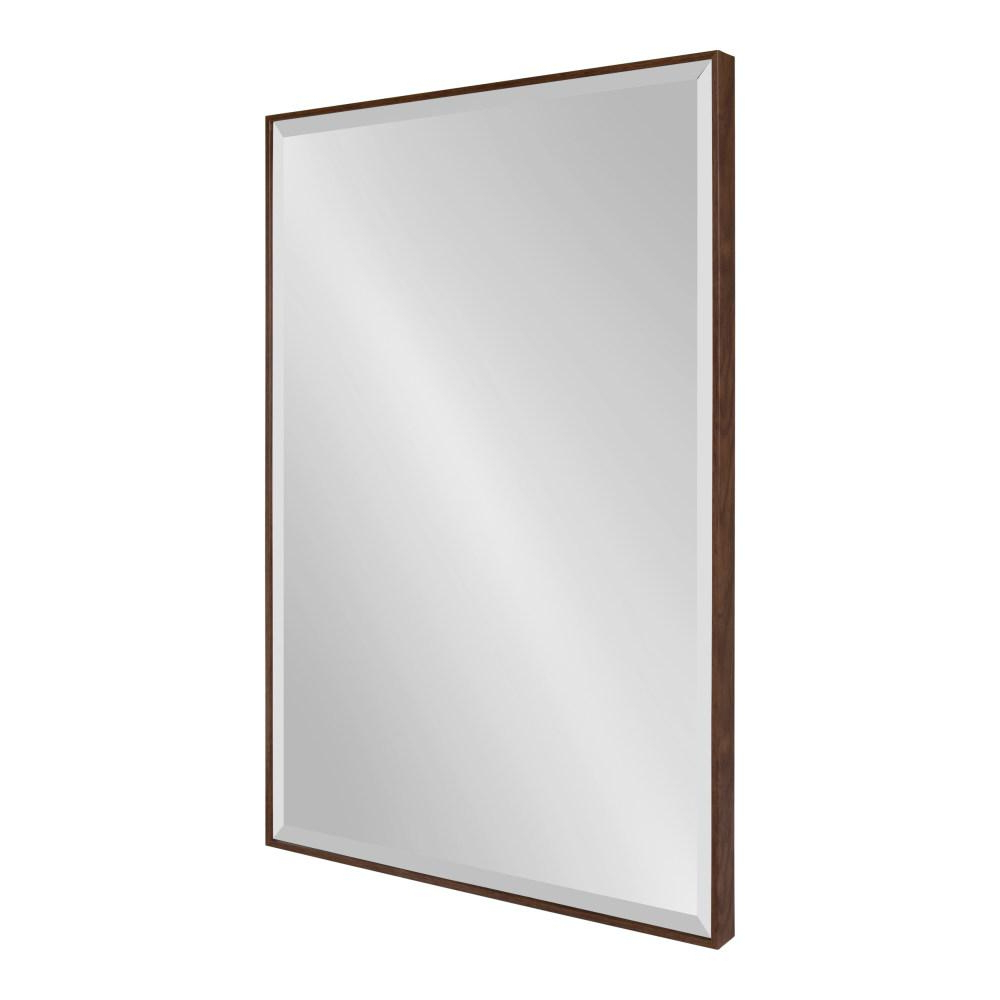 Fashionable Plastic Wall Mirrors Regarding Kate And Laurel Rhodes Rectangle Walnut Brown Plastic Wall Mirror (View 8 of 20)