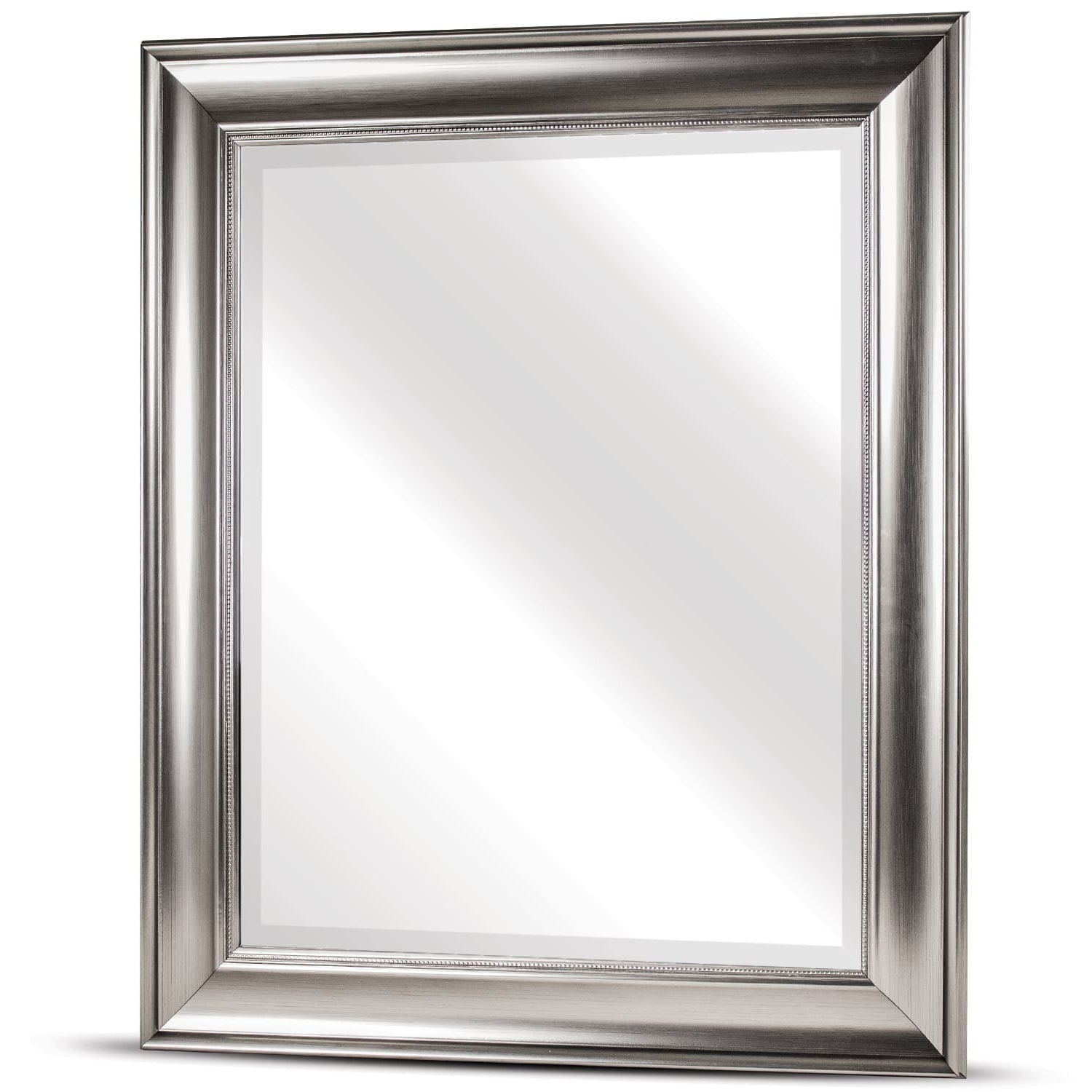Fashionable Rectangle Plastic Beveled Wall Mirrors In American Art Decor Clarence Medium Rectangular Silver Textured Accent Framed Beveled Wall Vanity Mirror – A/n (View 13 of 20)