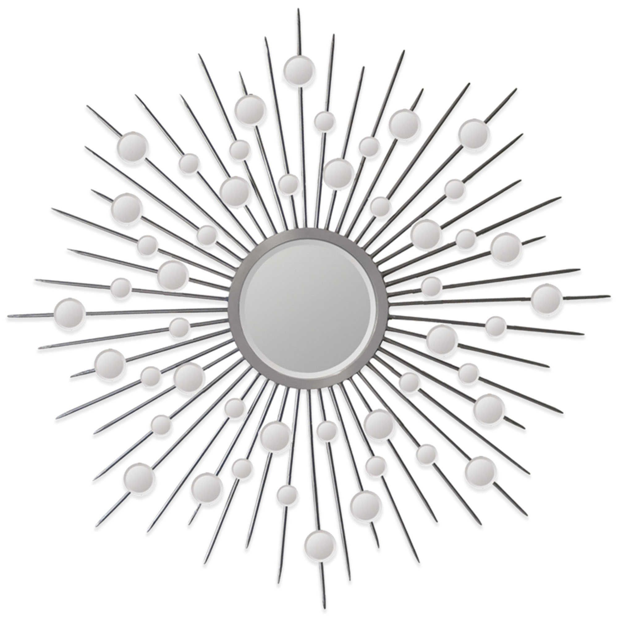 Fashionable Ren Wil 45 Inch X 45 Inch Starburst Onice Mirror In Silver Bed Bath With Estrela Modern Sunburst Metal Wall Mirrors (View 11 of 20)