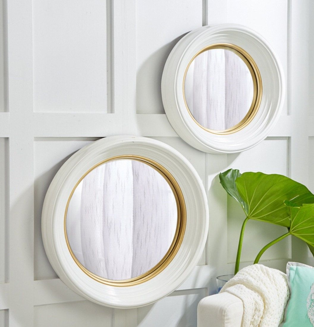 Fashionable Round Convex Wall Mirrors For Set Of 2 White Lacquer Round Convex Glass/resin Mirrors (View 7 of 20)