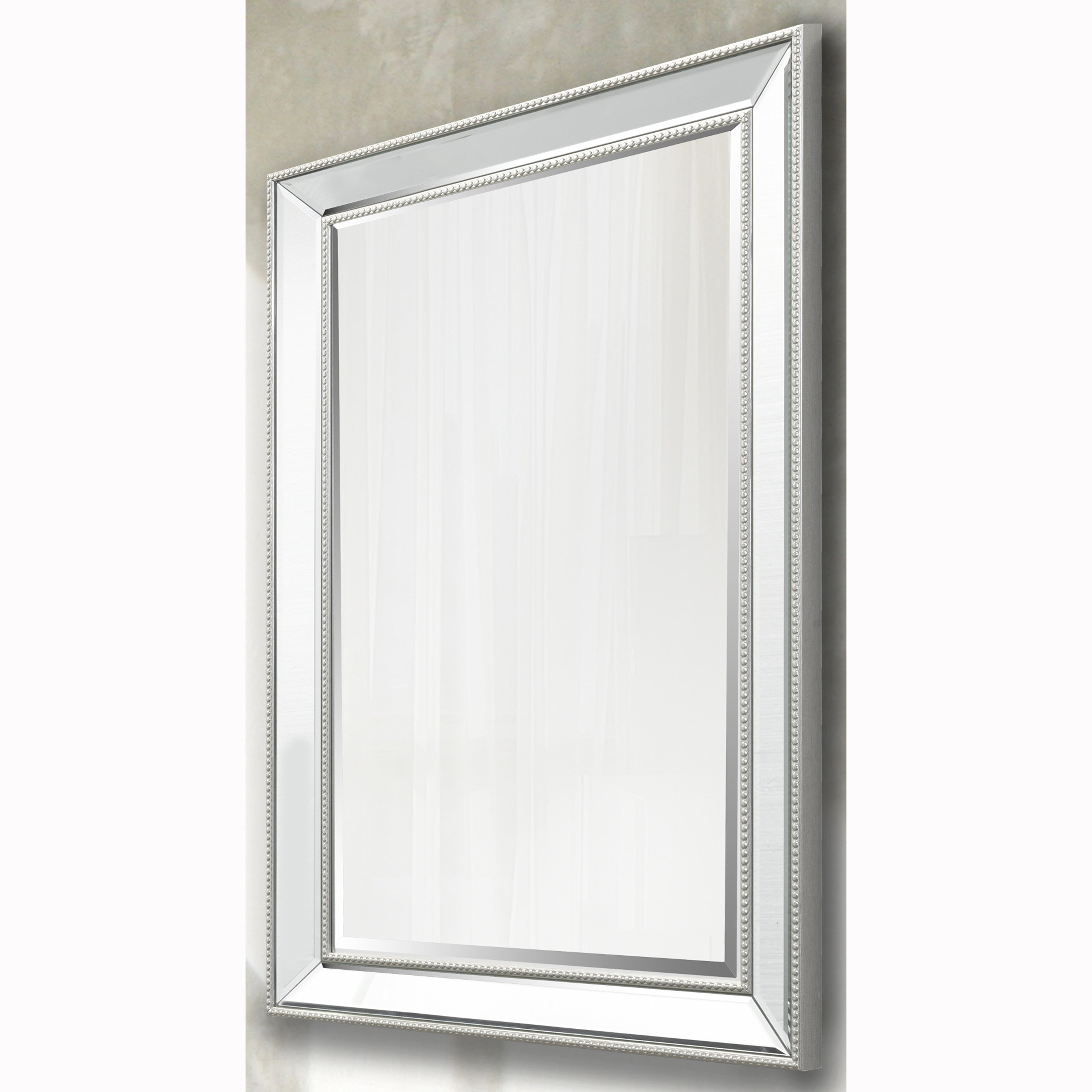 Fashionable Silver Beaded Rectangular Vanity Wall Mirror And Beveled Mirror Frame Inside Beaded Accent Wall Mirrors (View 10 of 20)