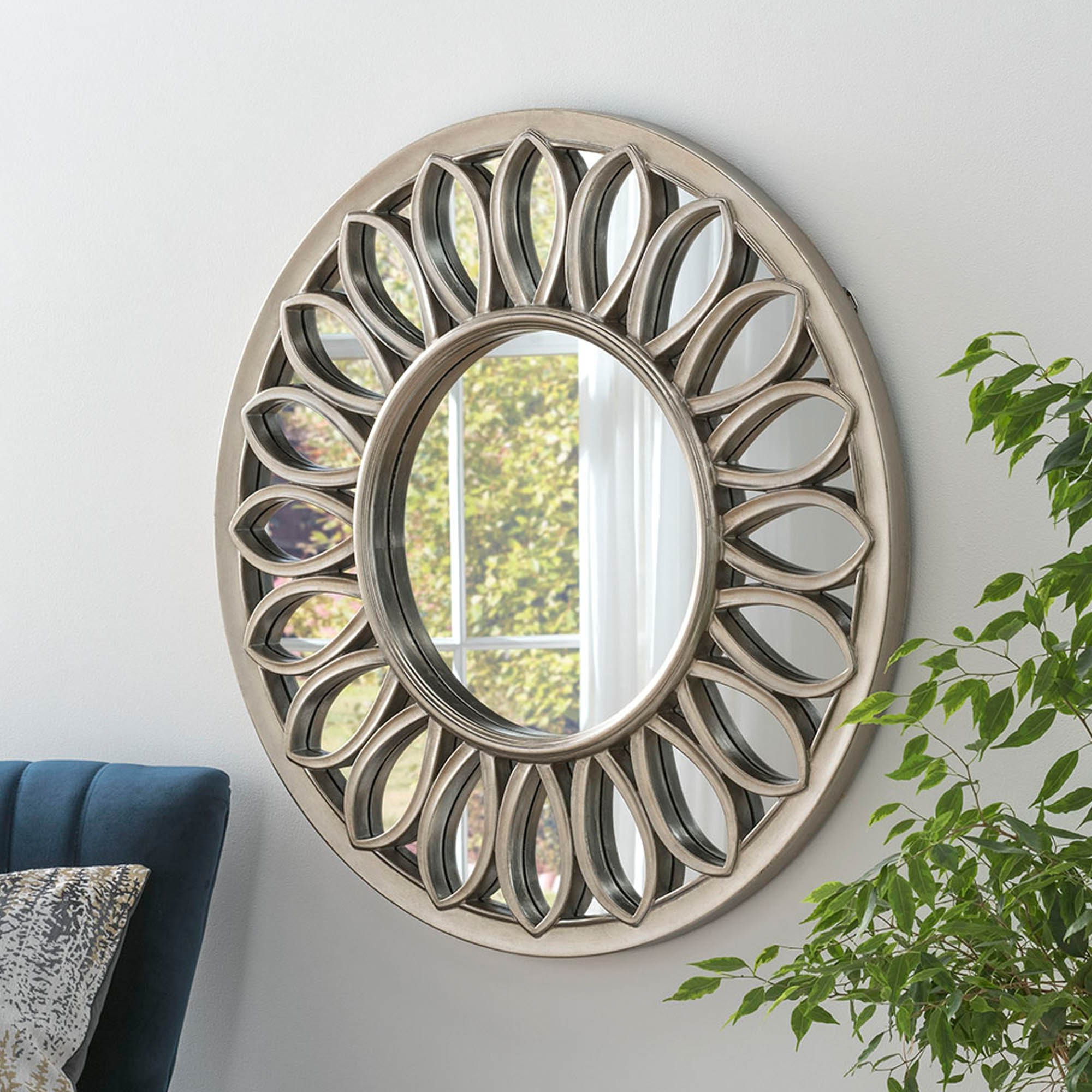 Fashionable Silver Leaf Wall Mirrors In Contemporary Silver Leaf Wall Mirror (View 6 of 20)