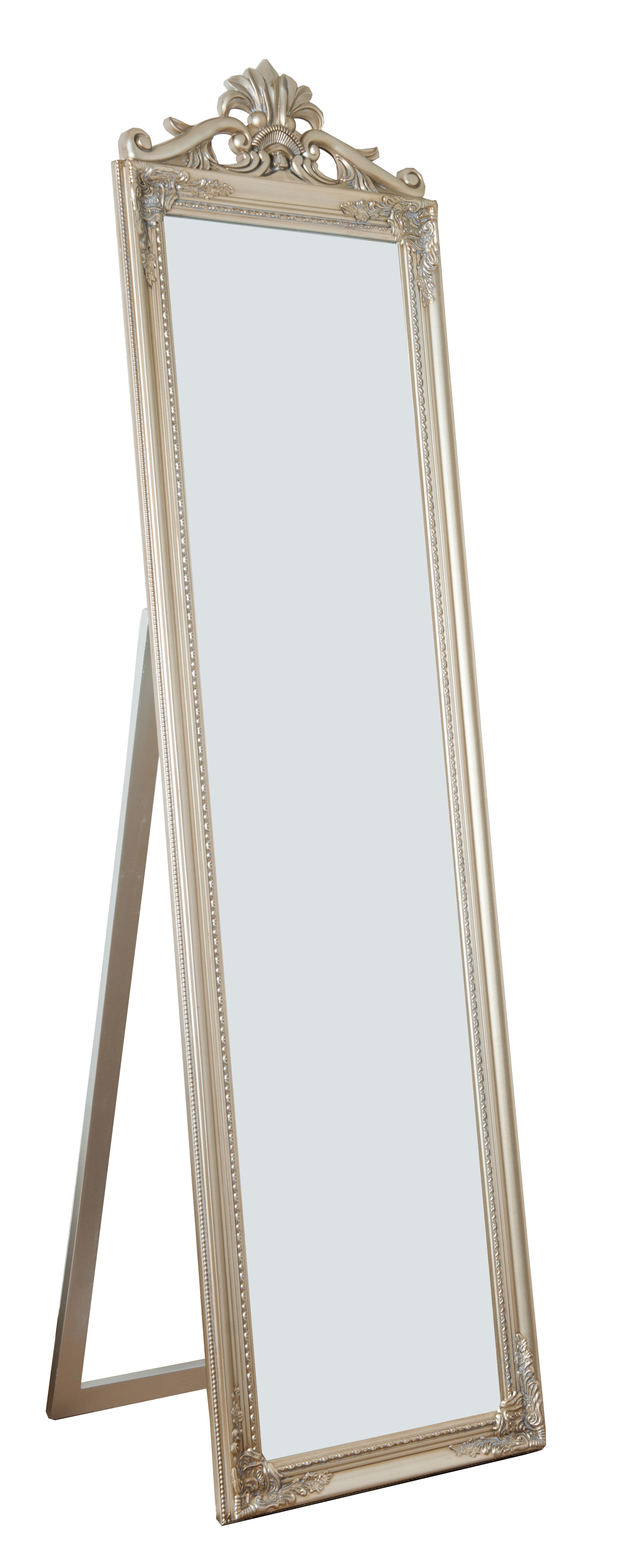Fashionable Stand Up Wall Mirrors Throughout Maryana Antiqued Wood Standing Wall Mirror (View 5 of 20)