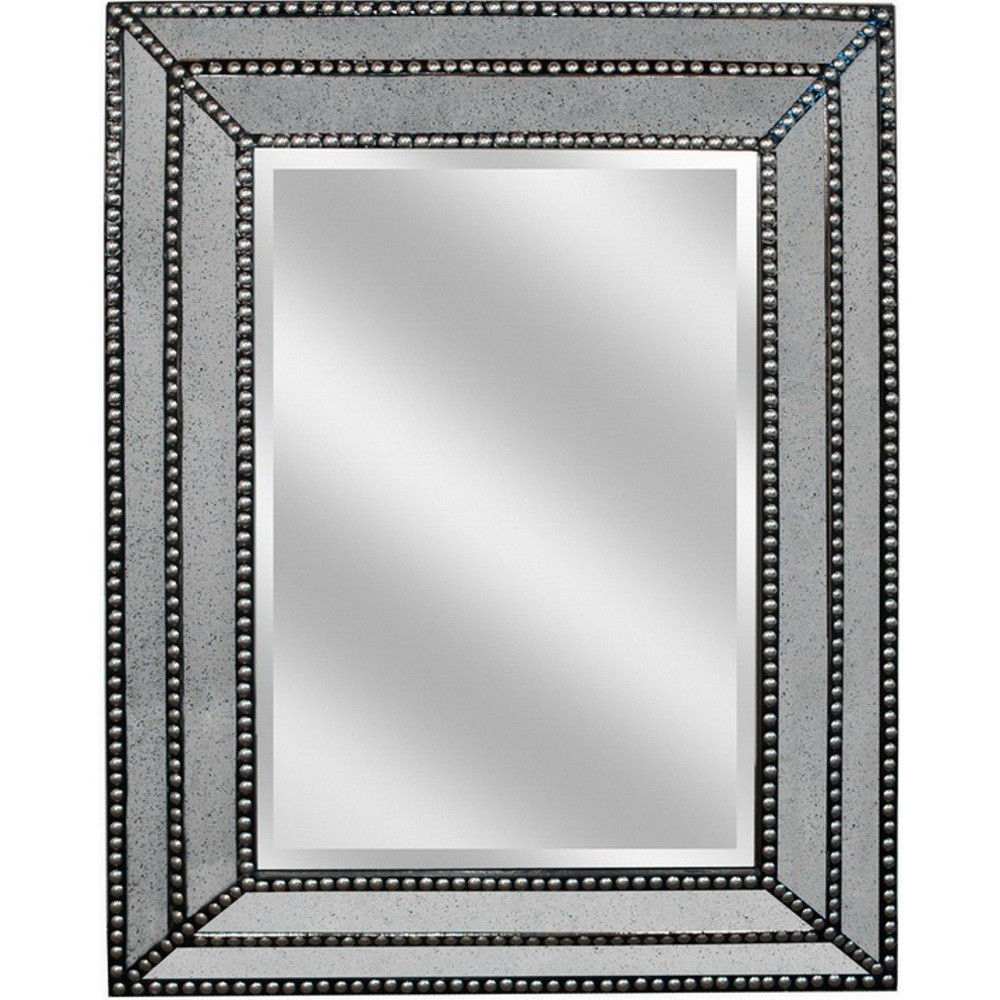 Fashionable Studded Wall Mirrors Regarding Studded/wood Wall Mirror (Connswall6) Conns – Huge Mirror (View 4 of 20)