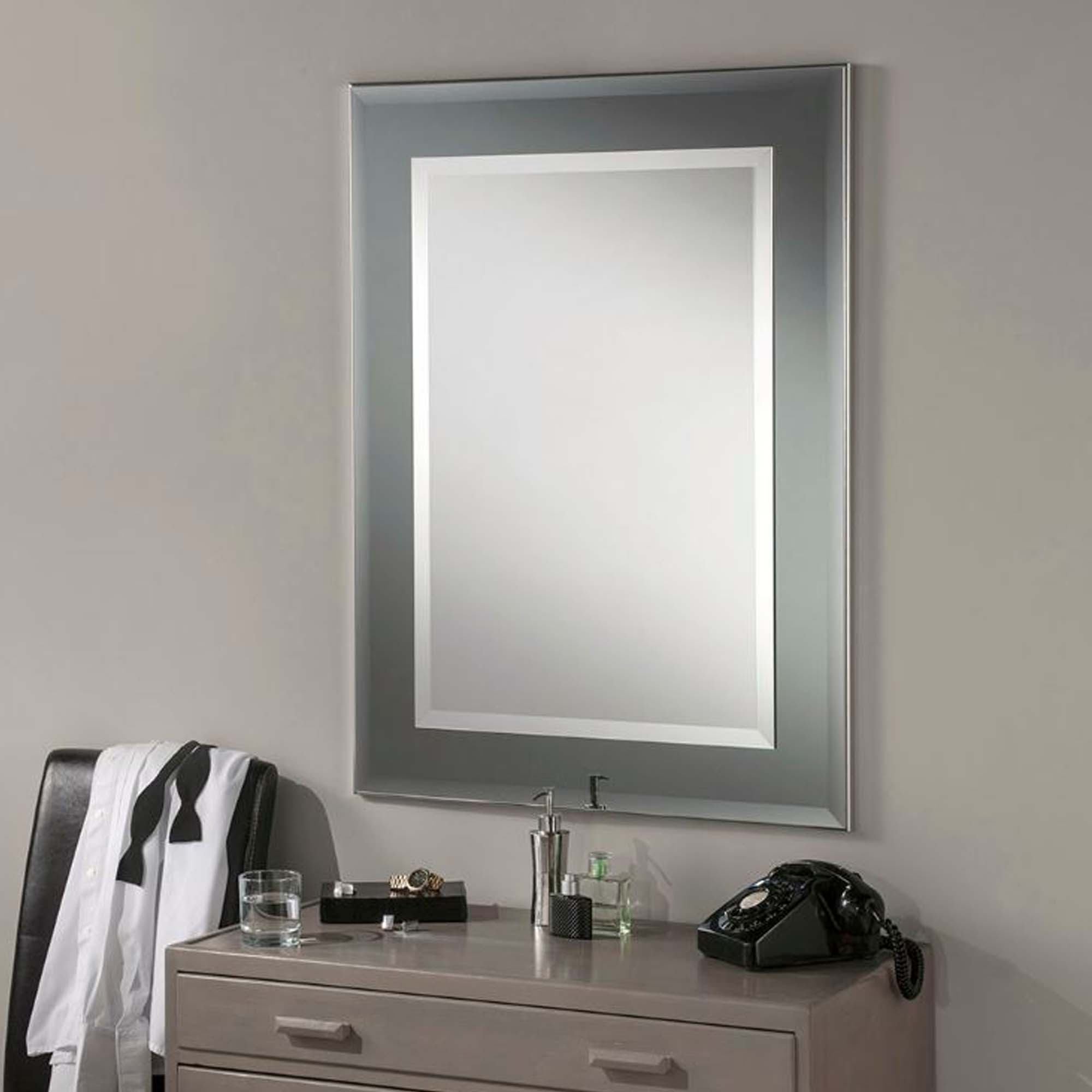 Fashionable Trendy Wall Mirrors In Contemporary Wall Mirror Rectangular Grey Frame (View 19 of 20)