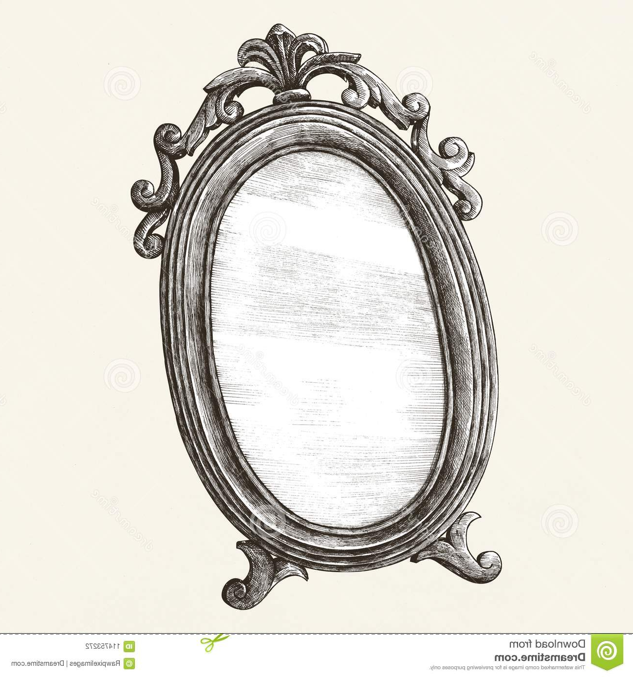 Fashionable Vintage Style Wall Mirrors Regarding Antique Wall Mirror Old Style Illustration Stock (Gallery 15 of 20)
