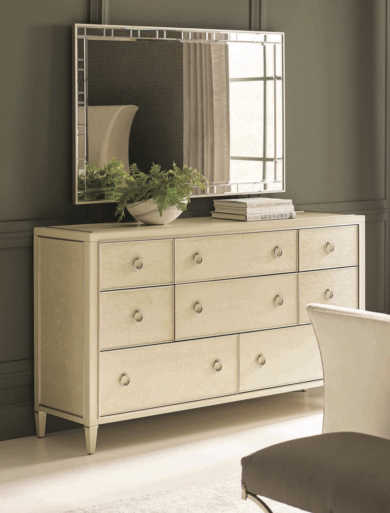 Fashionable Wall Mirrors With Drawers Throughout Caracole Classic Pure Eight Drawer Triple Dresser With Wall Mirror Set (Gallery 6 of 20)