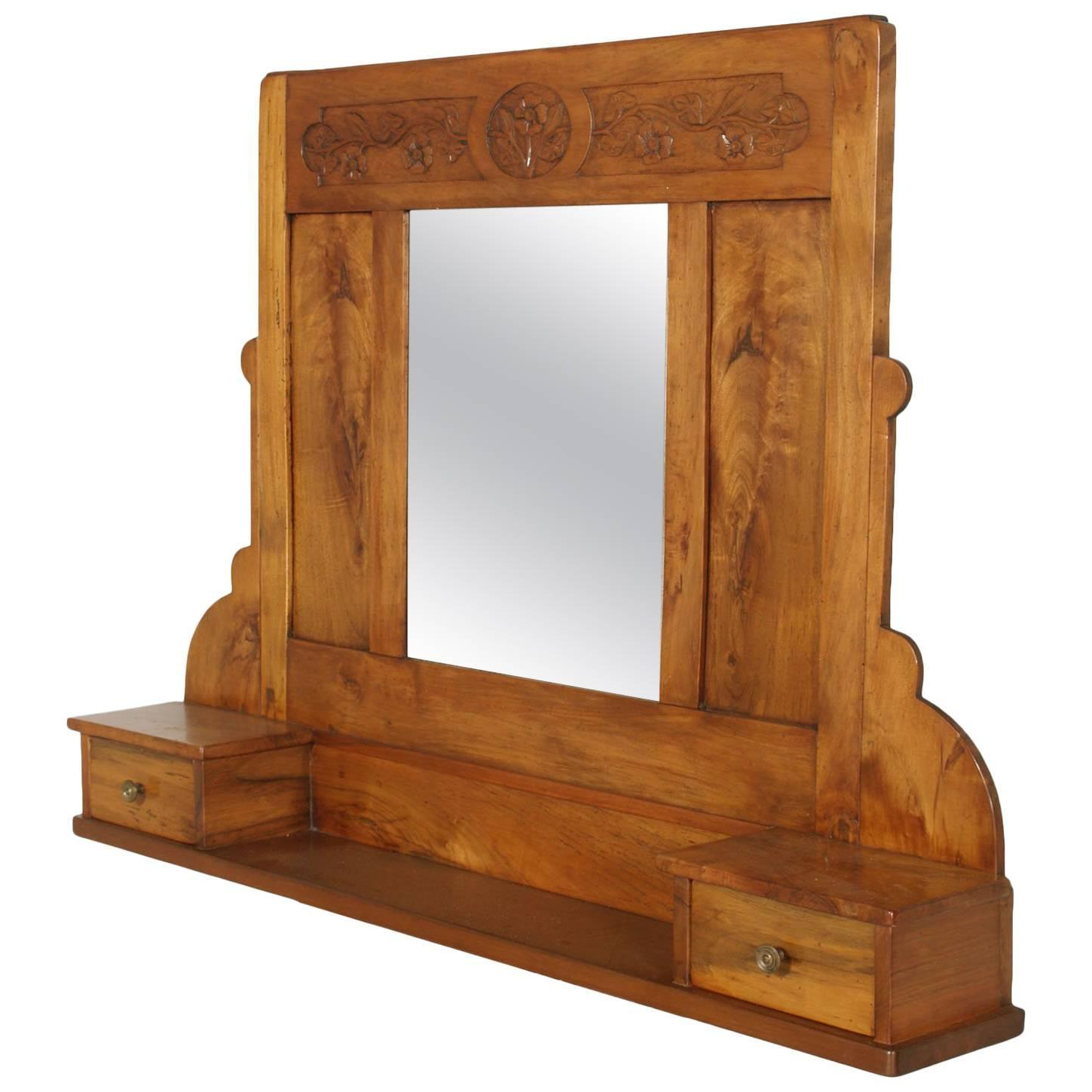Fashionable Wall Mirrors With Drawers With Regard To Art Nouveau Wall Mirror In Hand Carved Blond Walnut With Shelf And Two  Drawers (Gallery 10 of 20)
