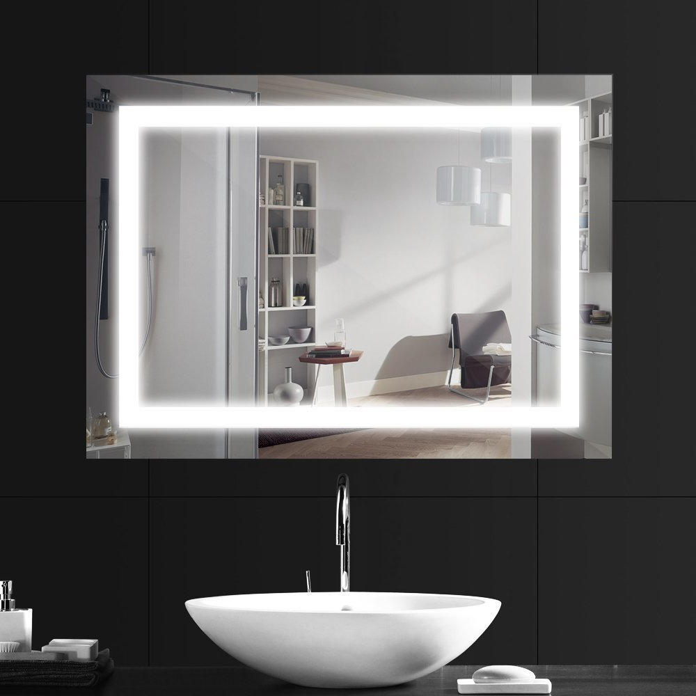 Fashionable Wall Mirrors With Light With Ansche 800 * 600mm Led Illuminated Bathroom Mirror Light, Make Up Dressing Wall Mounted Bedroom Explosion Proof Vanity Large Light Up Mirror With (View 5 of 20)
