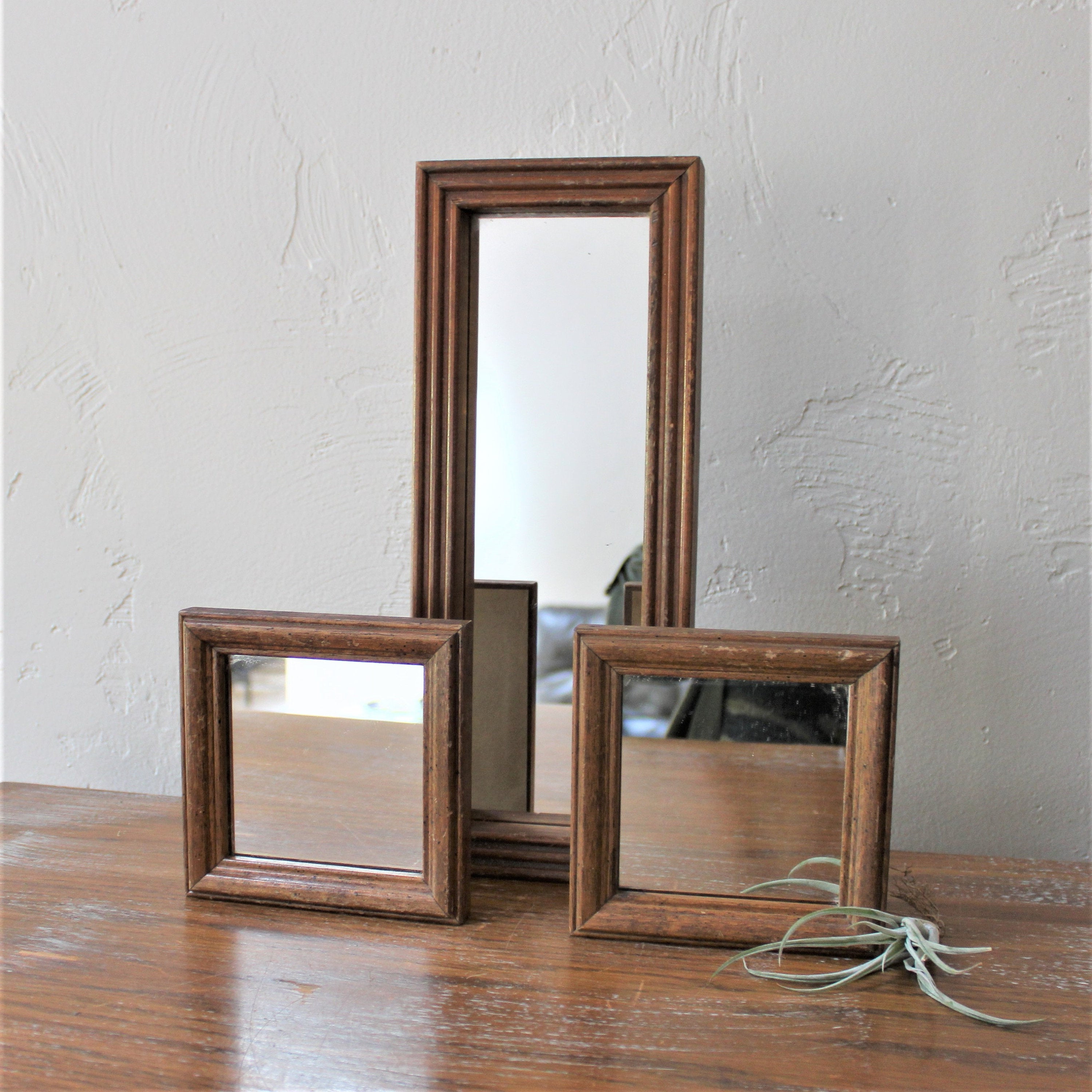 Fashionable Wooden Wall Mirrors With Regard To 3 Wooden Wall Mirrors, Wood Mirror Set, Entryway Decor, Hall Mirror, Entry  Way Mirror, Long Wall Mirror, Gallery Wall Decor, Square Mirror (Gallery 2 of 20)