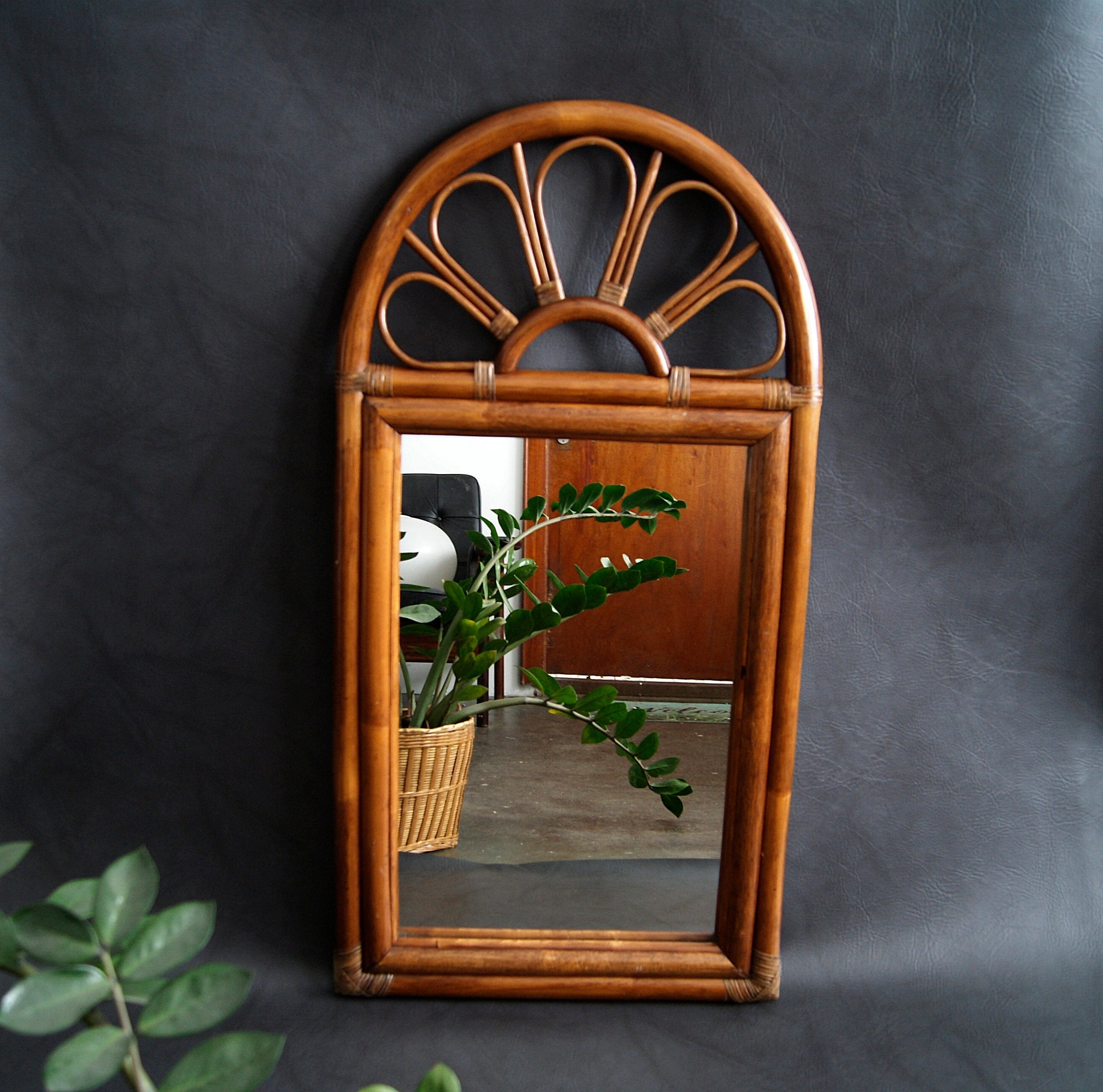 Faux Window Wood Wall Mirrors With Regard To Newest Large Bamboo Mirror, Wall Mirror, Faux Bamboo, Wood Mirror Mid Century (View 6 of 20)