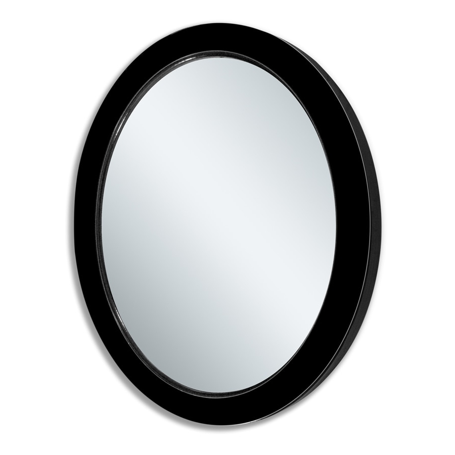 Favorite Allen + Roth 30 In L X 24 In W Oval Black Beveled Wall Mirror At Throughout Black Oval Wall Mirrors (View 3 of 20)