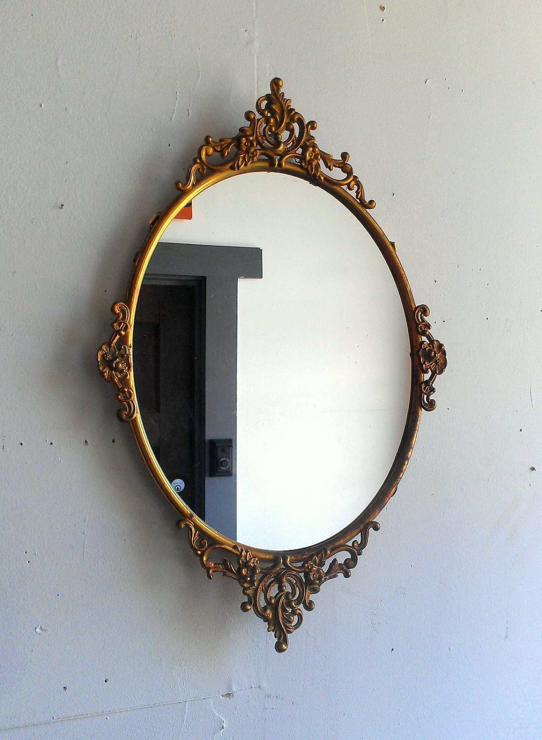 Favorite Antique Oval Mirror In Ornate Brass Frame 1912 Inches (View 20 of 20)