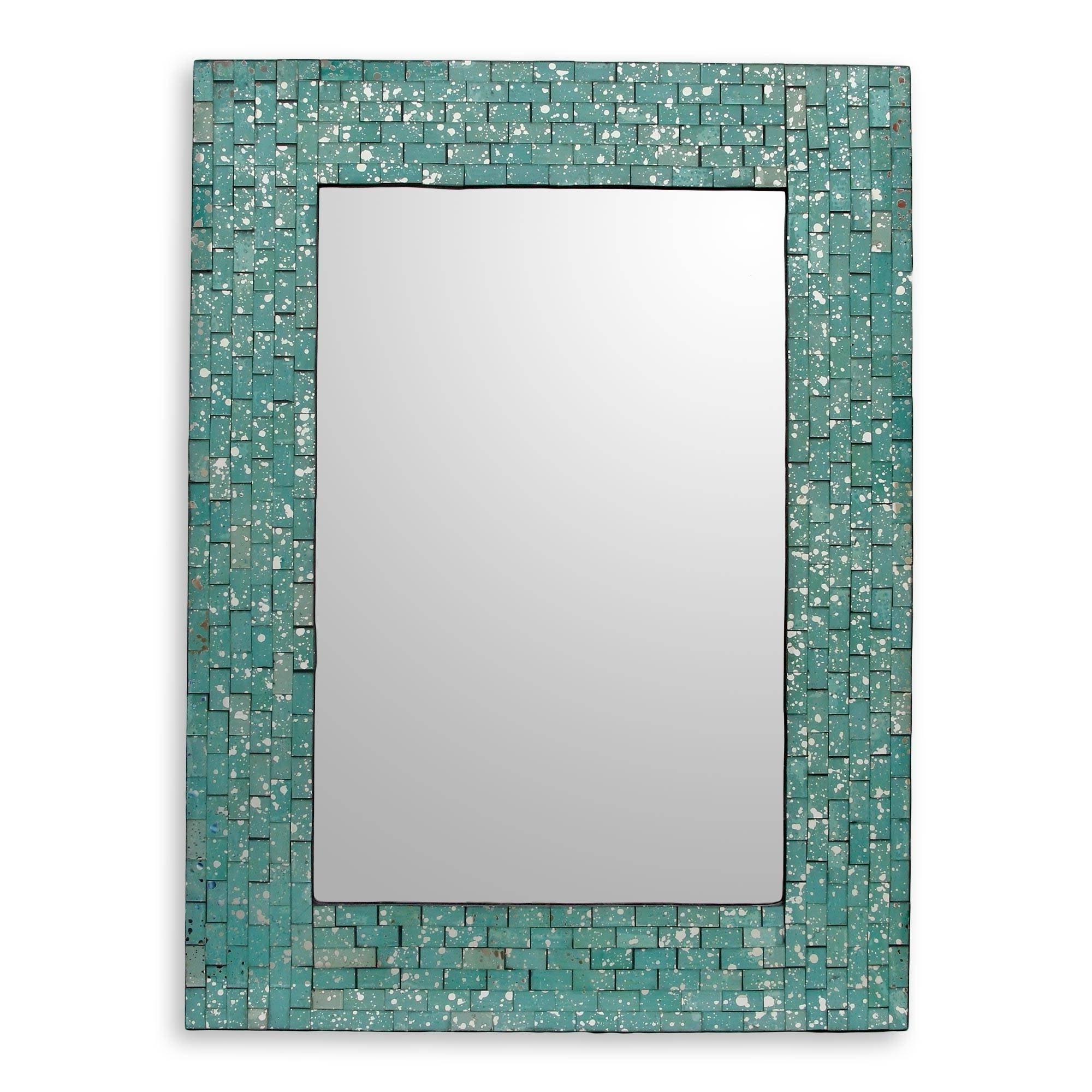 Favorite Aqua Cosmos Glass Mosaic Wall Mirror – India – Green Regarding Aqua Wall Mirrors (View 4 of 20)