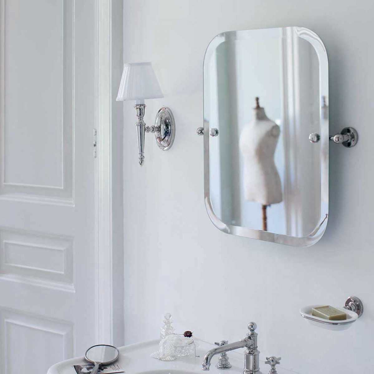 Favorite Arcade Rectangular Swivel Mirror With Nickel Wall Mounts – 590 X 620mm Inside Swivel Wall Mirrors (View 9 of 20)