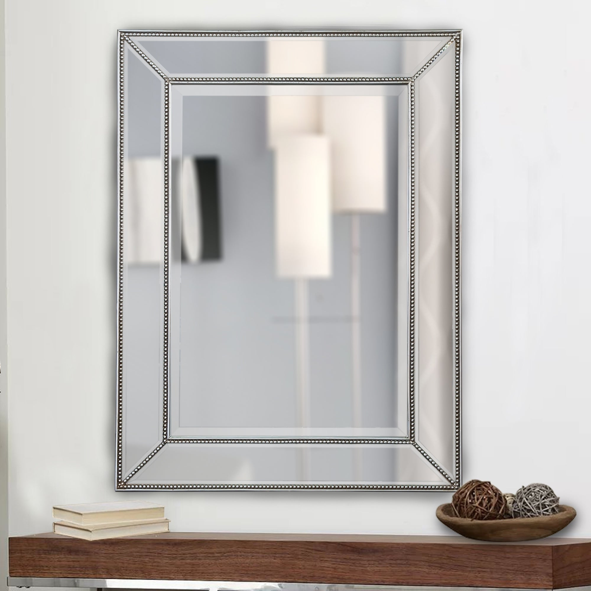 Favorite Beaded Accent Wall Mirrors Intended For Rectangle Silver Beaded Accent Wall Mirror (View 11 of 20)